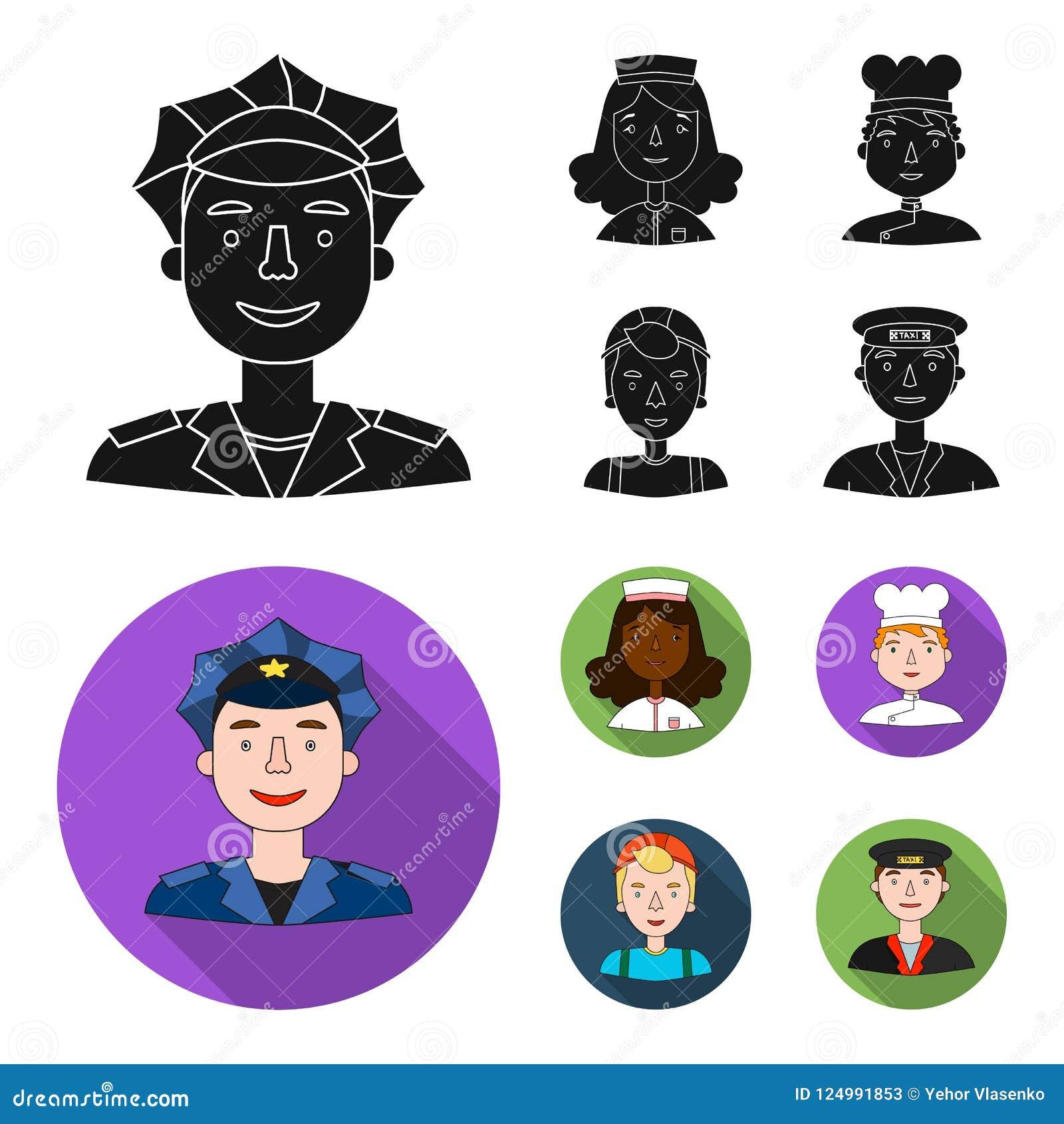 Pielęgniarka, kucharz, budowniczy t, taxi przejażdżka Ludzie różni zawody ustawiać inkasowe ikony w czarnym, mieszkanie styl