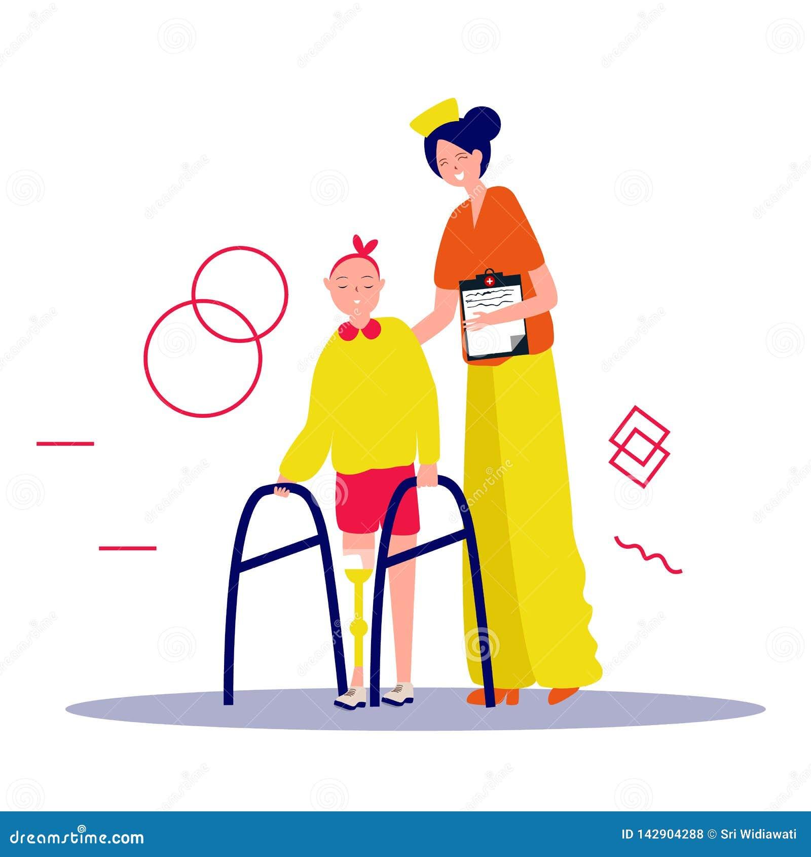 Pielęgniarka pomaga pacjenta iść piechur Dbać dla niepełnosprawnej osoby Wektorowa ilustracja w p?askim stylu