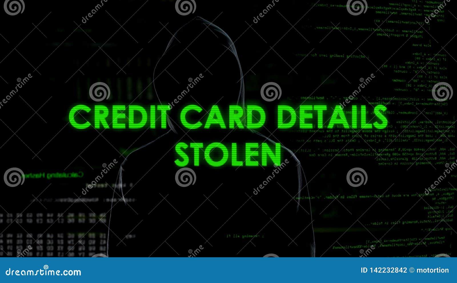 Pieniężny hacker kraść kredytowej karty szczegóły, konto bankowe blok, pieniądze strata