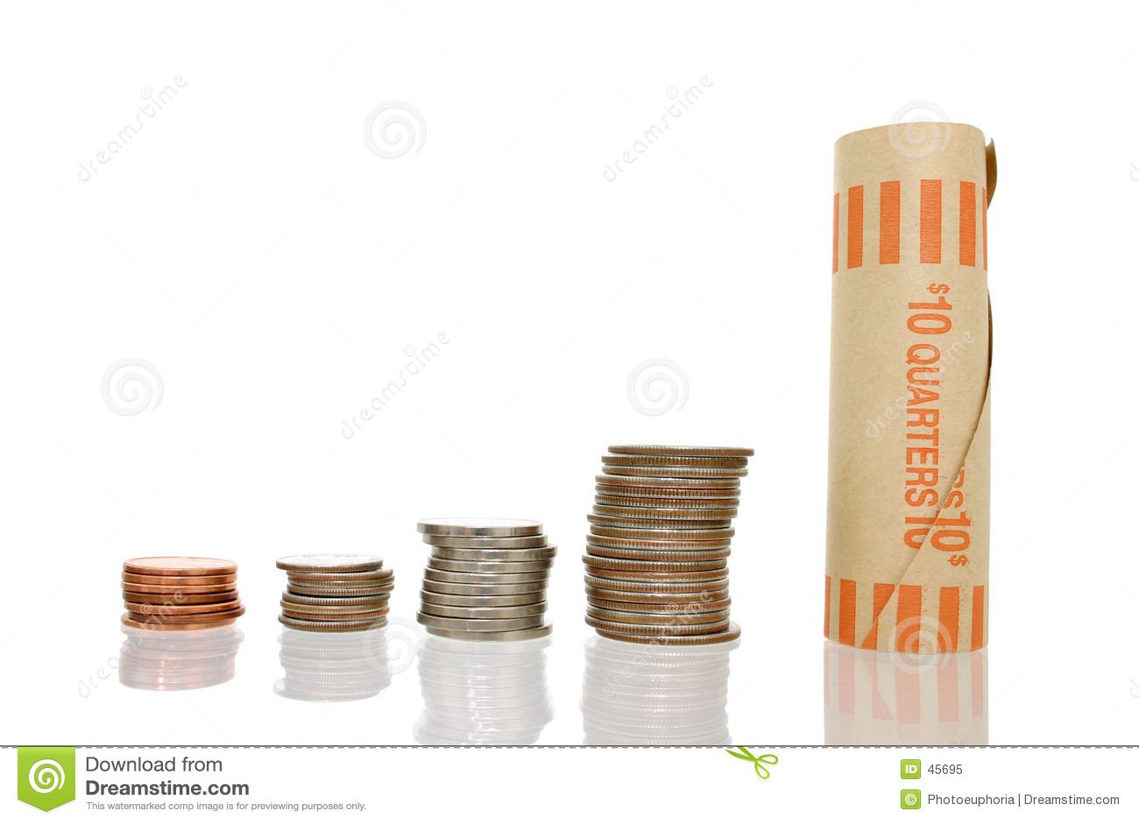 Pieniądze broguje monet opakowania