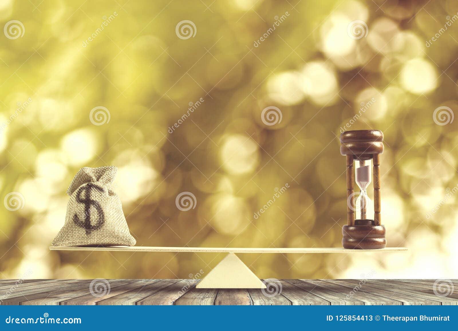 Pieniądze, czas równowaga, zmiana pieniądze w gotówkę i odwrotności concep,