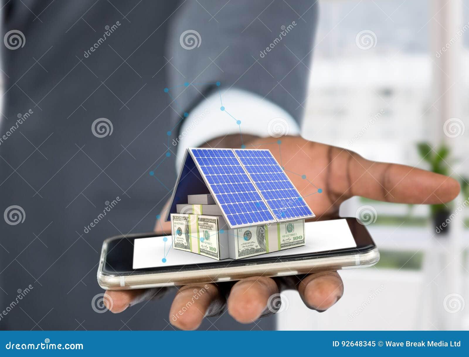 Pieniądze dom na telefonie, w biurze