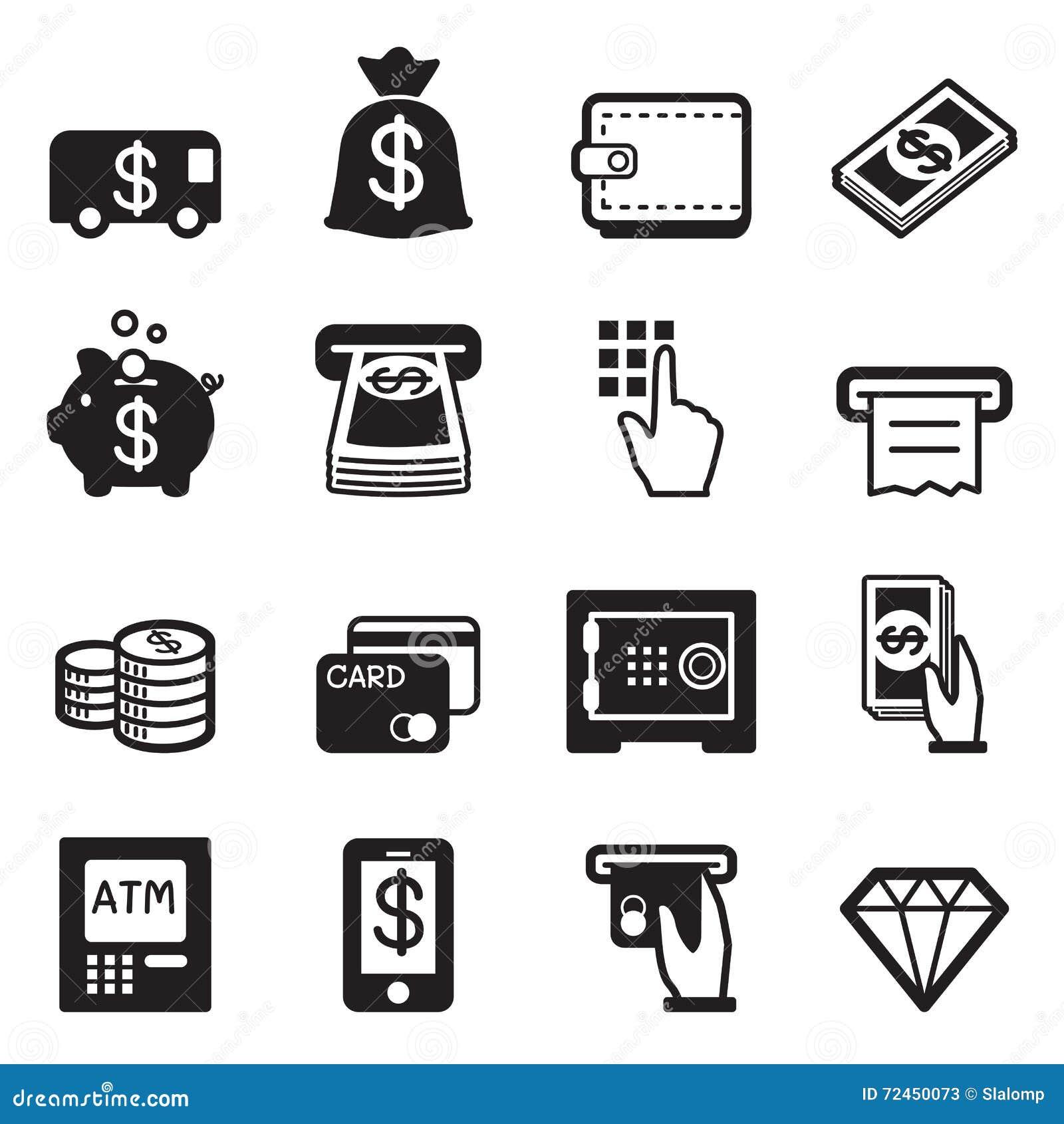 Pieniądze, finanse, deponuje pieniądze kredytowej karty ikony wektorowe