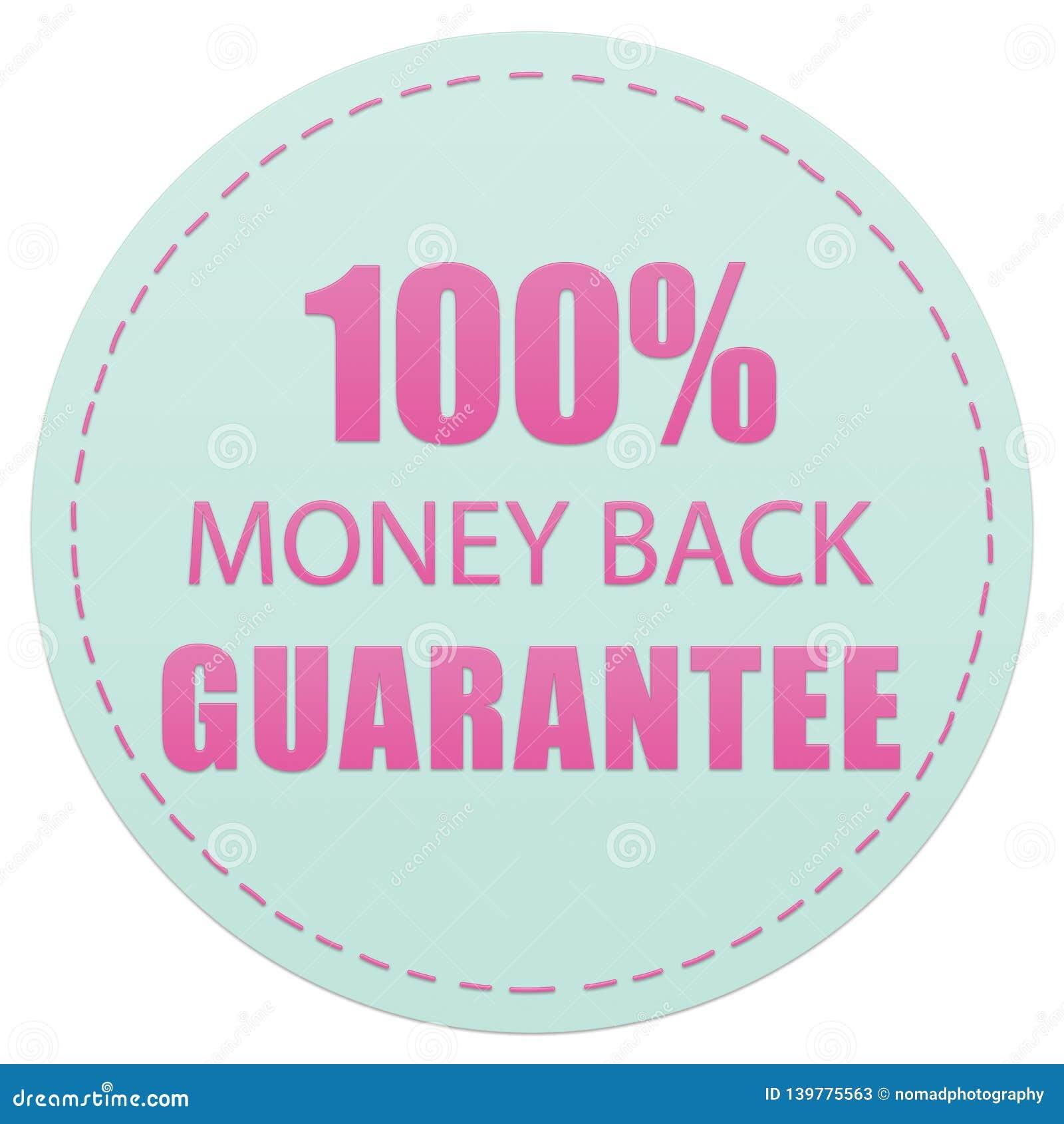 100  pieniądze gwarancji, RÓŻOWYCH I ZIELONYCH kolorów ikona TYLNA, PRZYLEPIA ETYKIETKĘ ilustrację