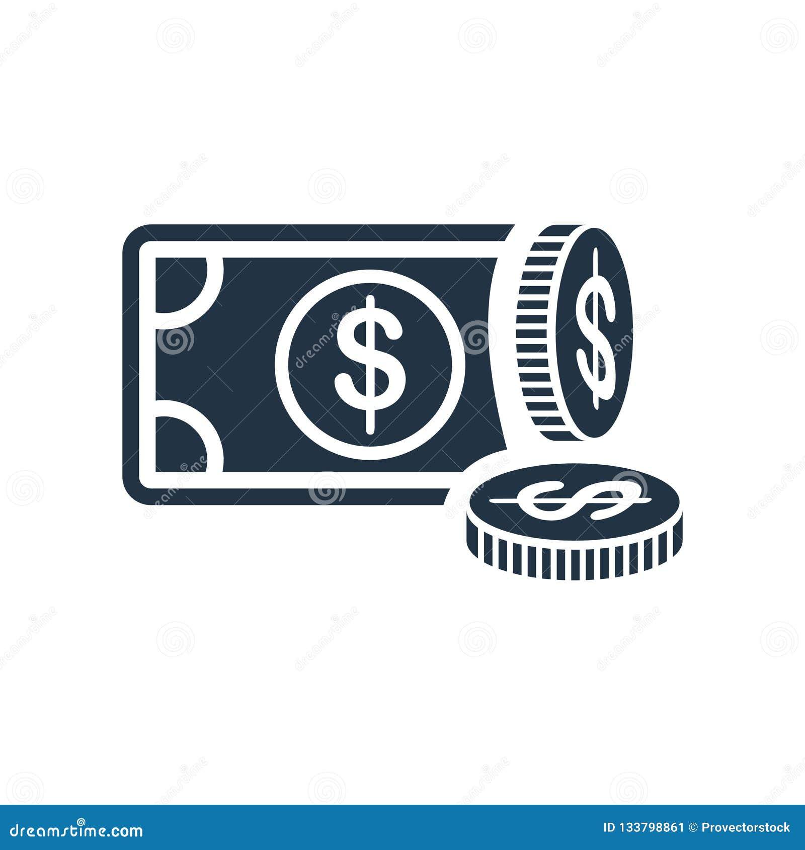 Pieniądze ikony wektor odizolowywający na białym tle, pieniądze znak