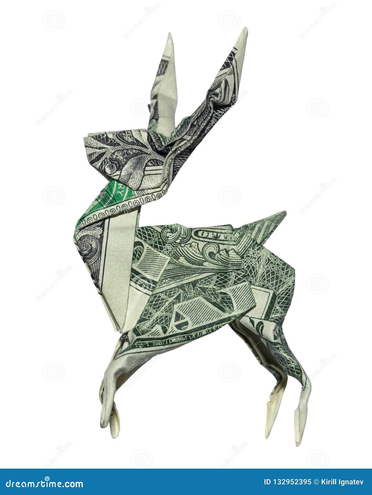 Pieniądze Origami JELENI real Jeden Dolarowego Bill jeleń Odizolowywający na Białym tle