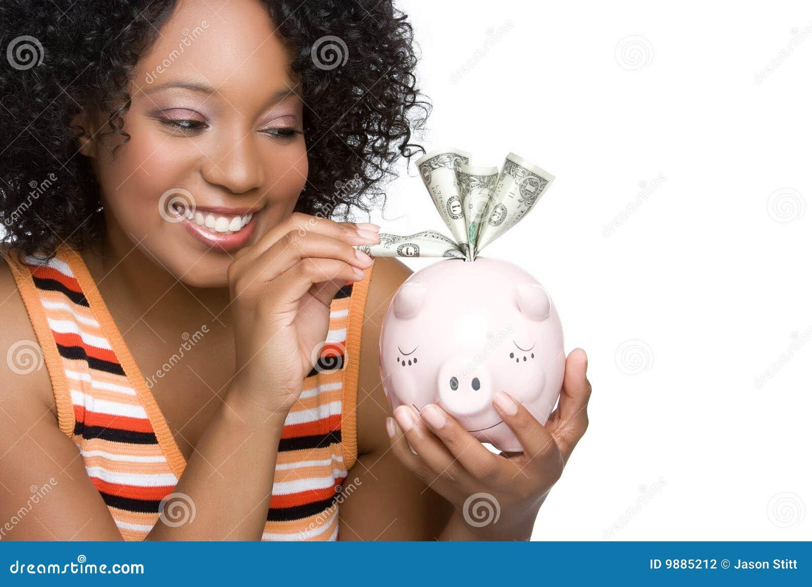 Pieniądze oszczędzania kobieta