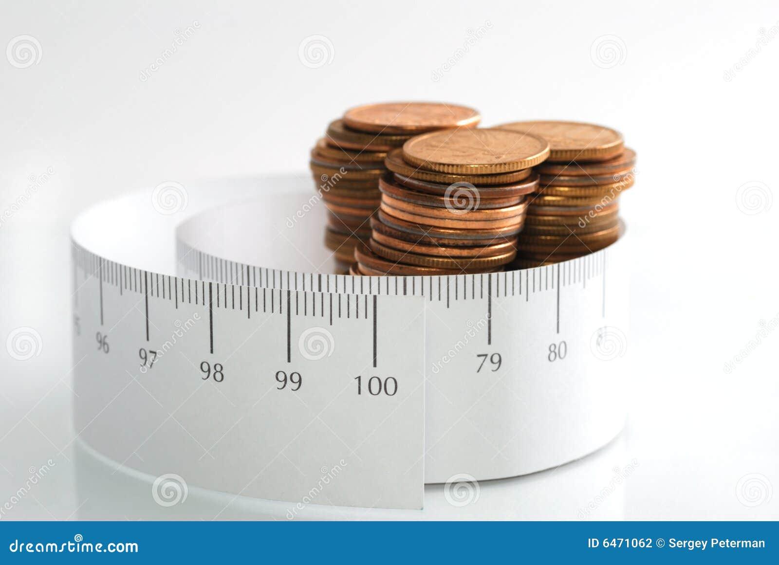 Pieniądze pomiarowa taśmy