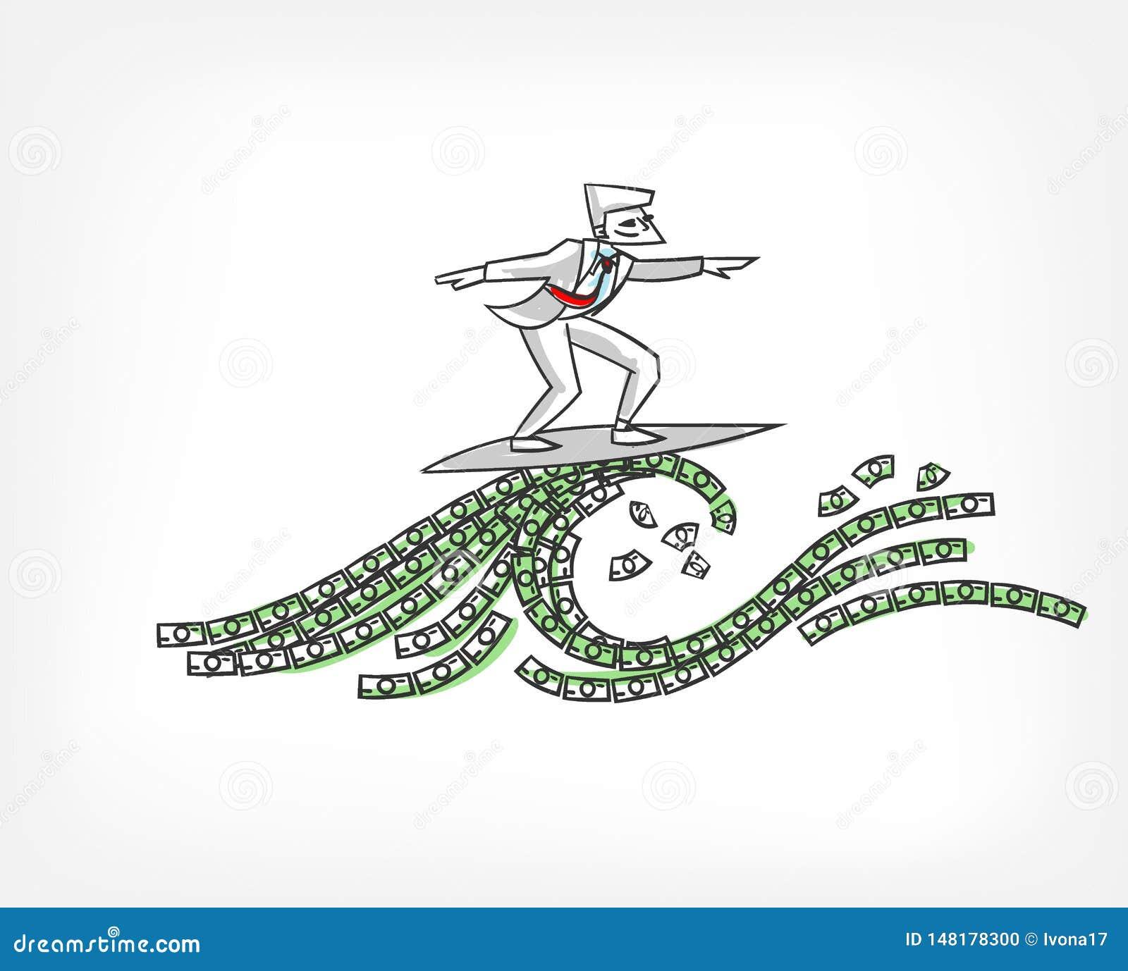 Pieniądze spływowego pojęcia doodle wektorowy ilustracyjny nakreślenie