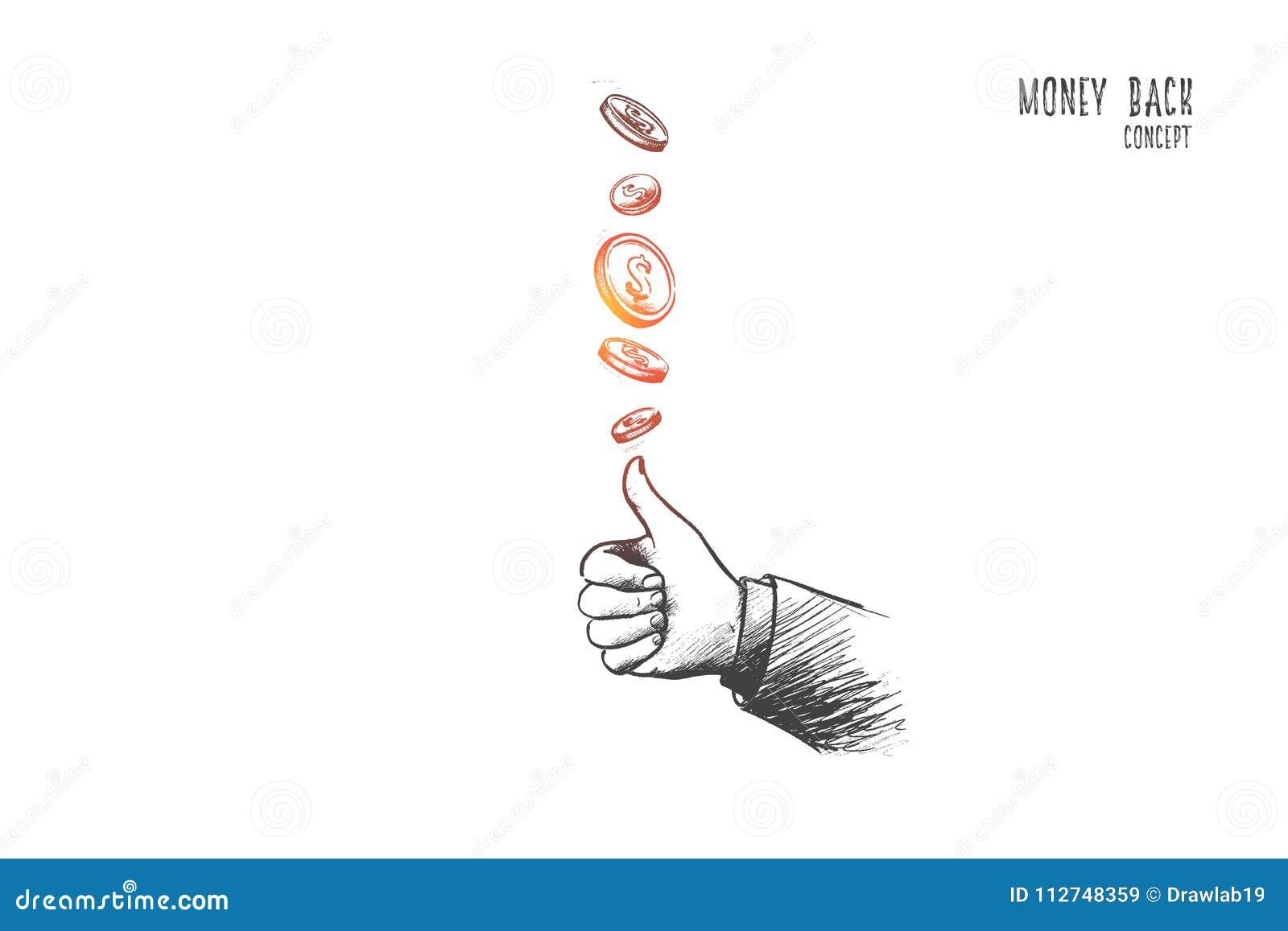 Pieniądze tylny pojęcie ręka patroszony wektor