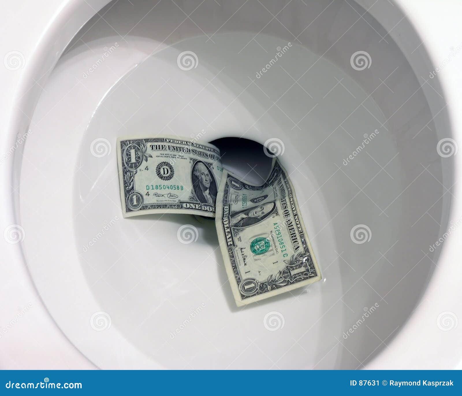 Pieniądze w dół toaleta