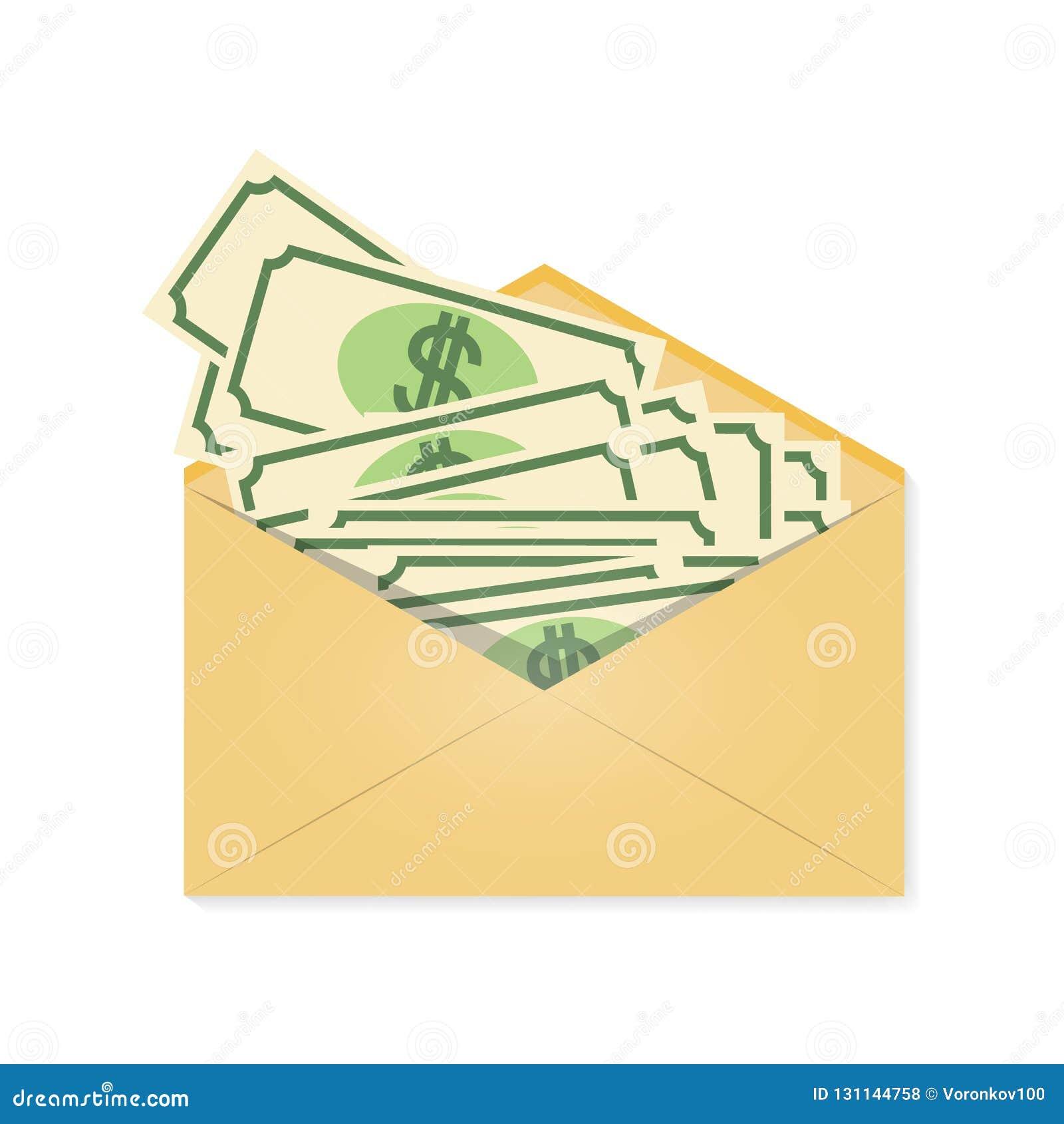 Pieniądze w kopercie waggles Pieniężny prezent, nagroda Wektorowa ilustracja odizolowywająca na lekkim tle