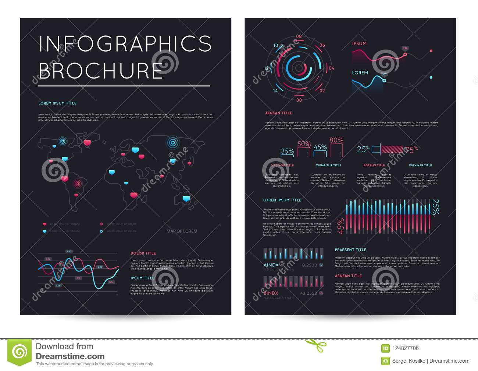 Pieniężna broszurka z różnorodnym infographics