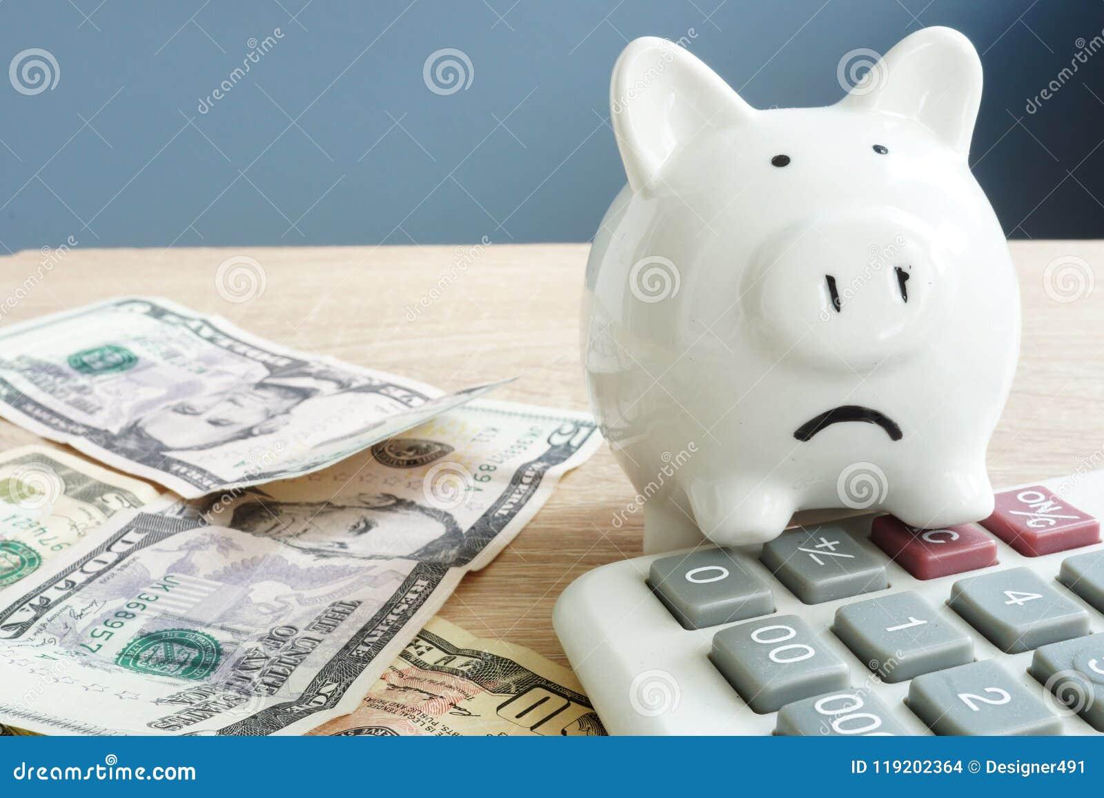 Pieniędzy zmartwienia Nieszczęśliwy prosiątko i few banknoty z kalkulatorem Problemy z pieniądze