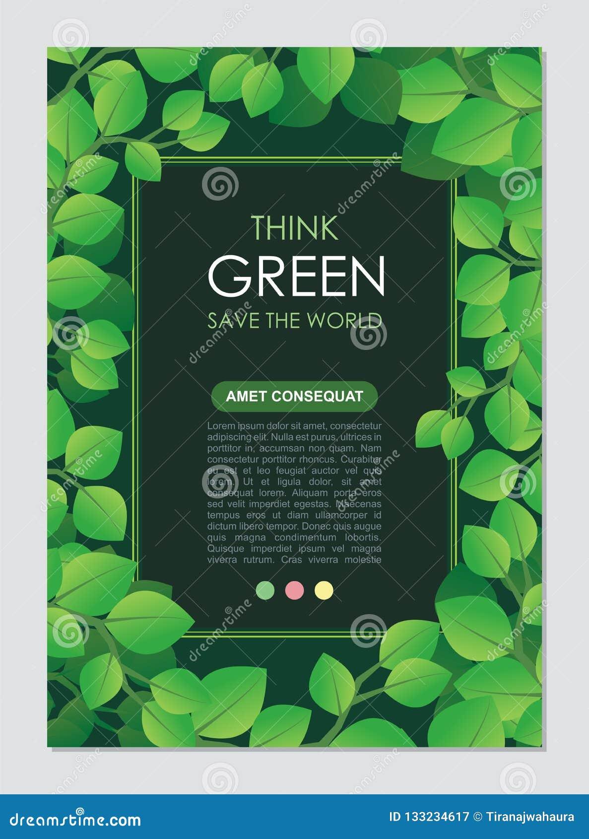 Piense el capítulo y la frontera verdes Va el concepto verde de las hojas
