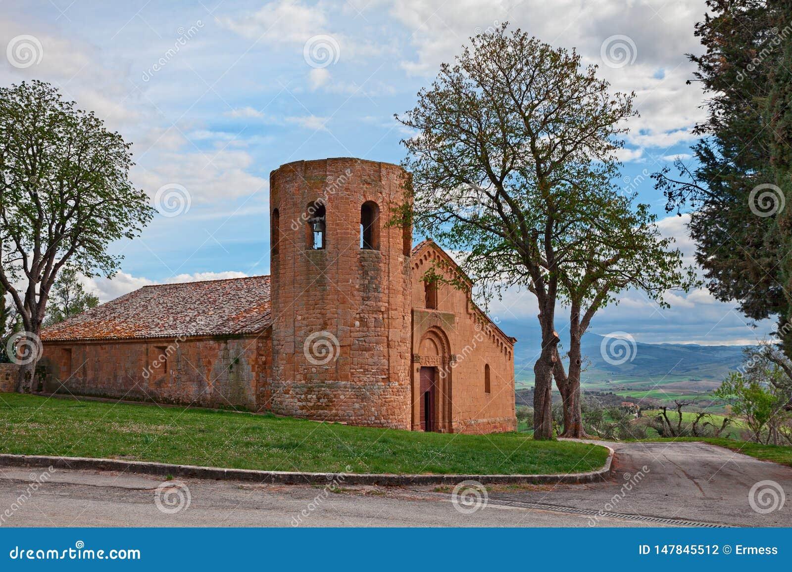 Pienza, Sienne, Toscane, Italie : le 12ème siècle médiéval de Pieve di Corsignano d église