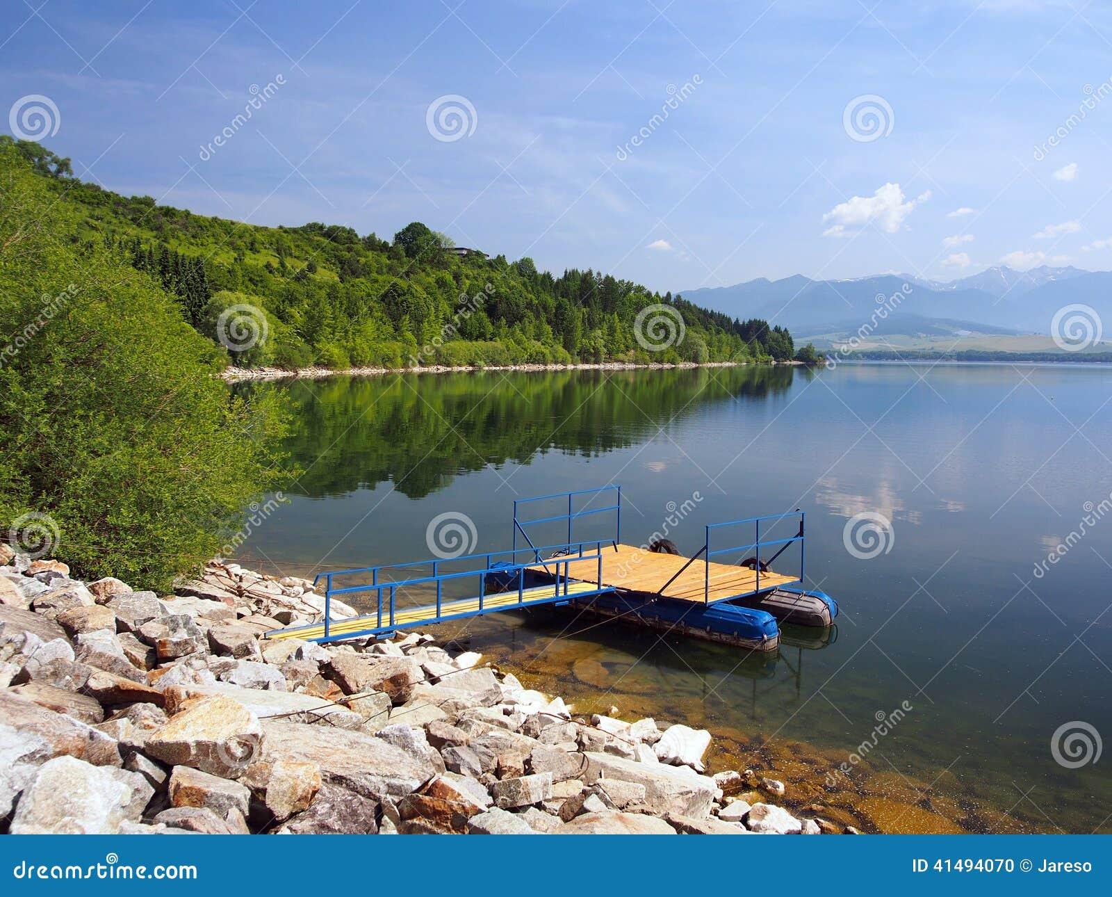 The pier for boats at Liptovska Mara, Slovakia