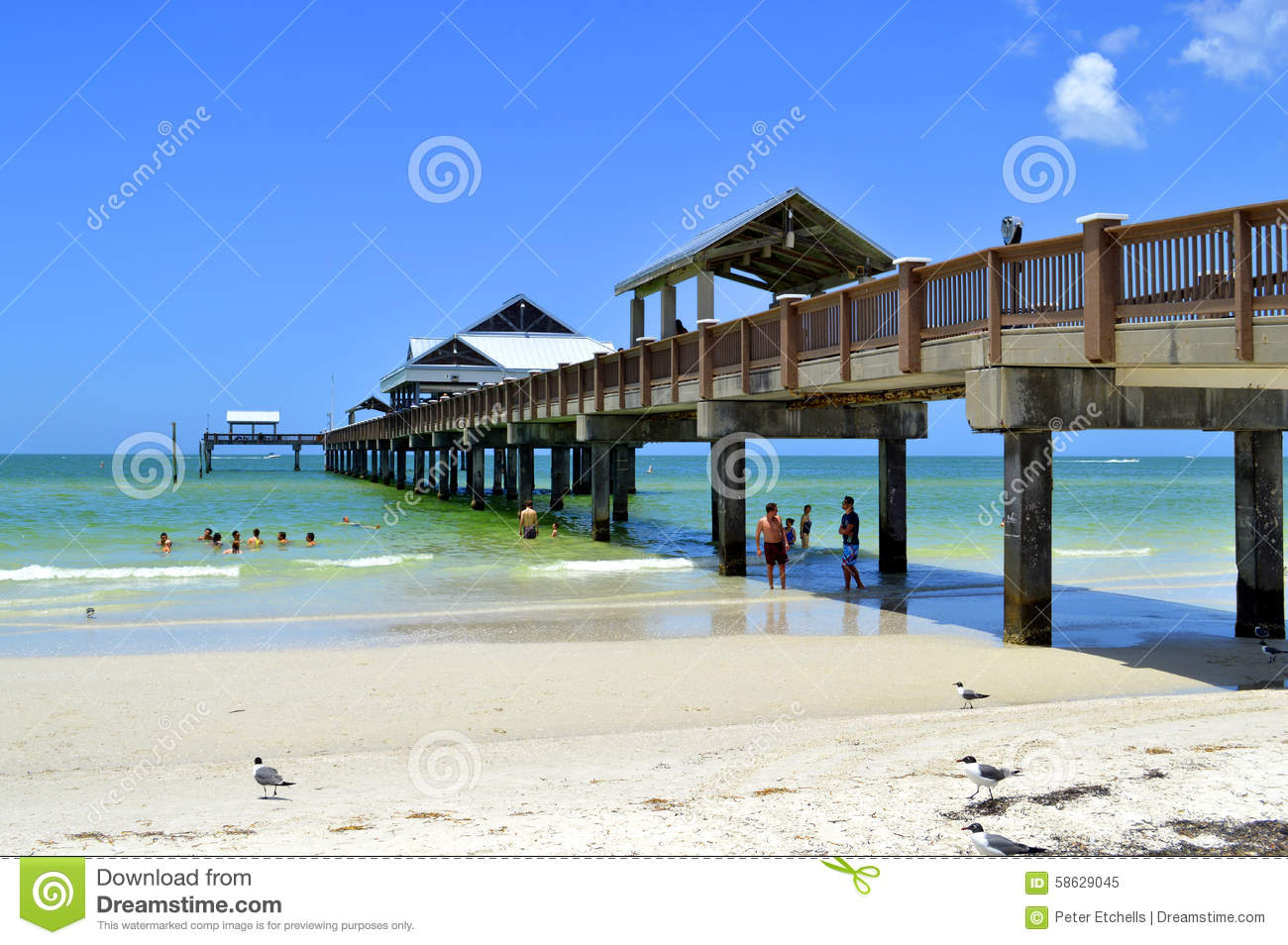 Pier 60 Clearwater Beach Florida Usa May 12 2015 Tourists On The Beach Bar Enjoying The Sun