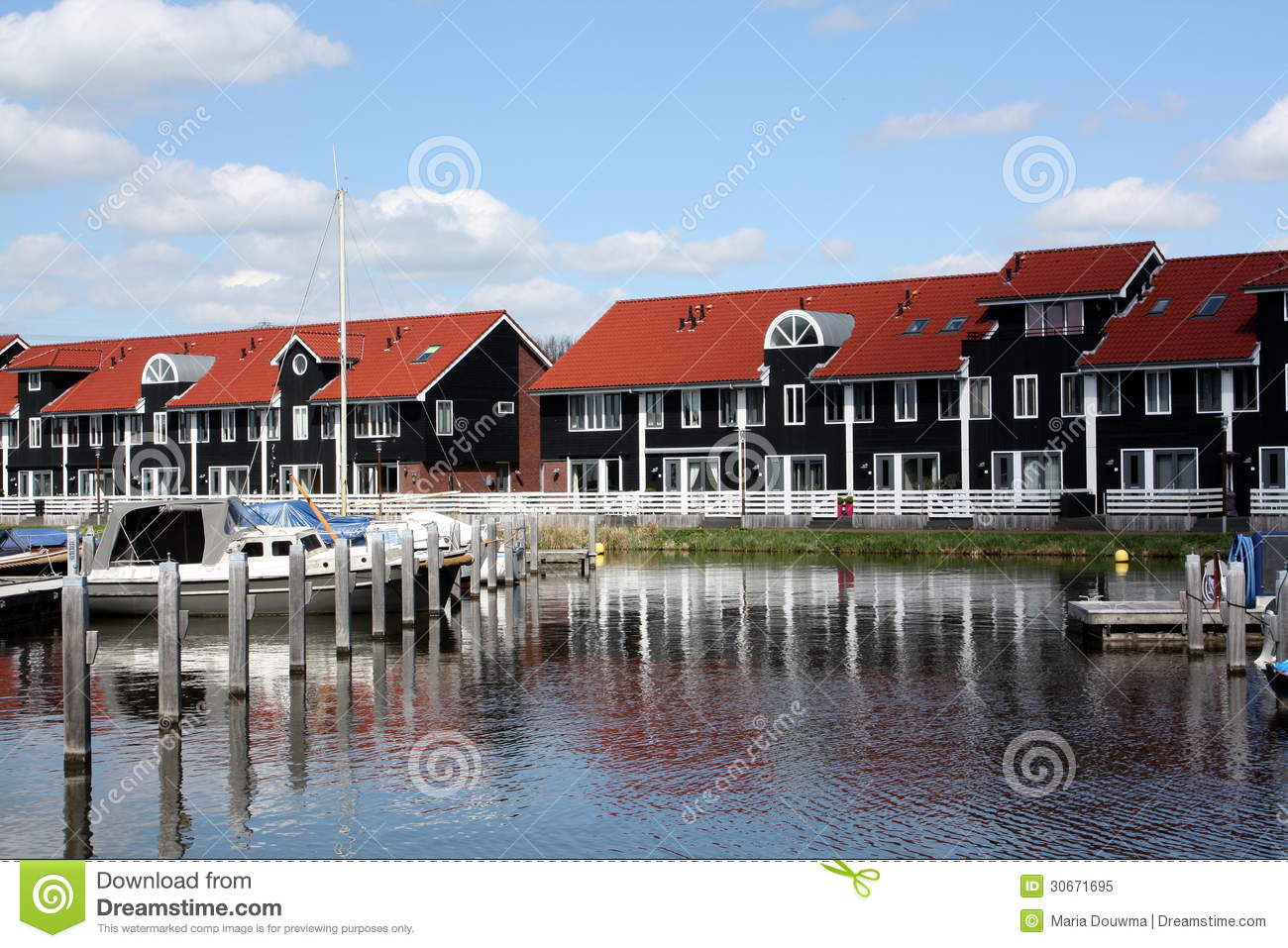 Pier Houses And Boats Royalty Free Stock Photo Image