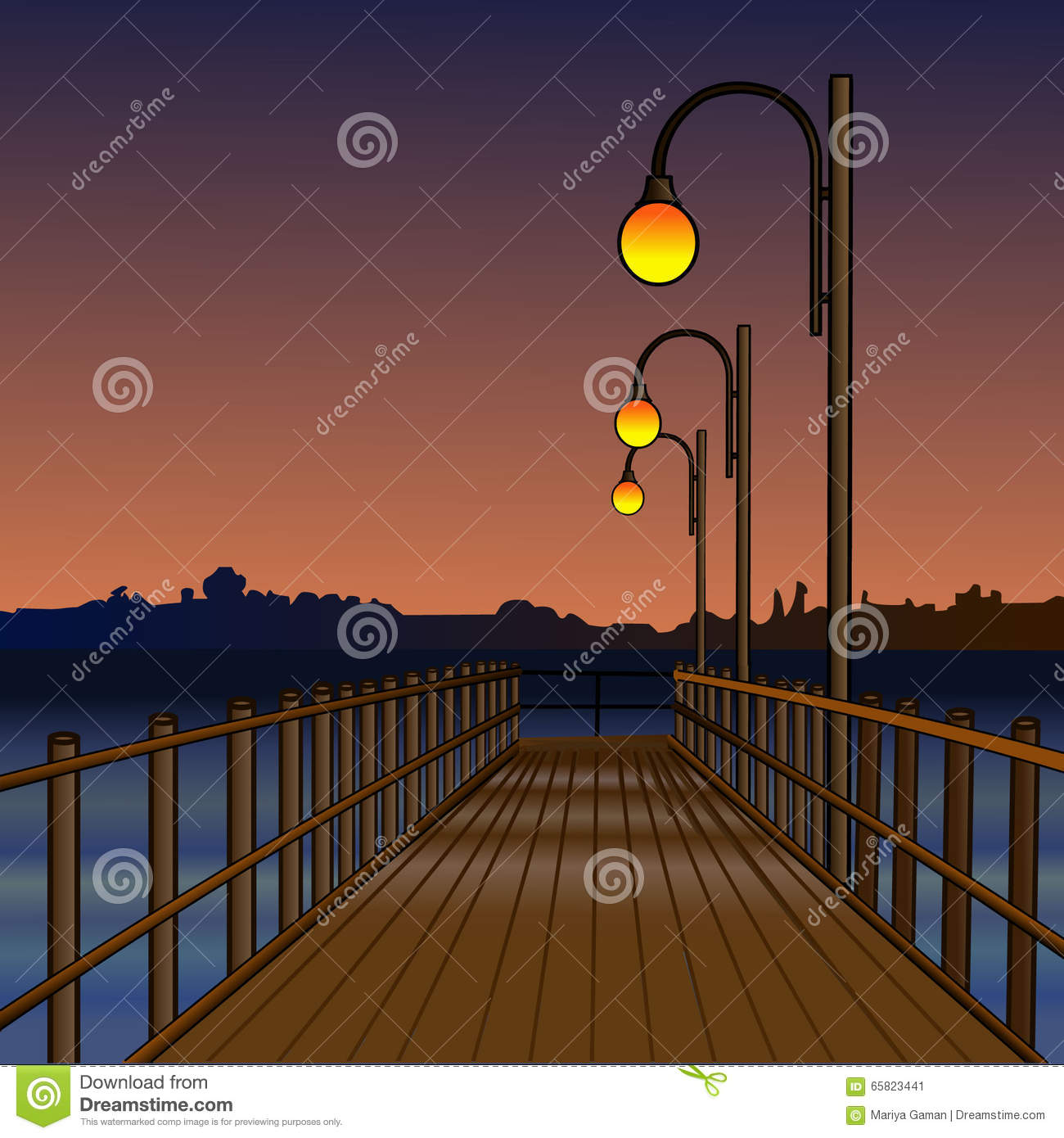 Water Lamps Pier Illuminated By Light Lamps Night River Reflection Of Lamps