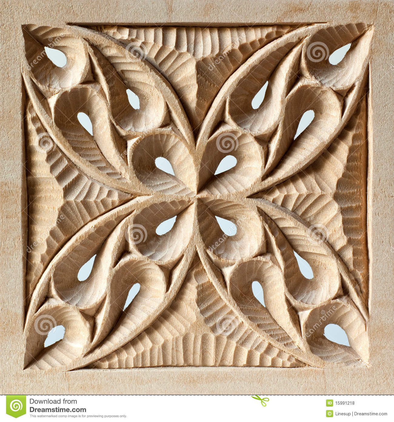 Pierced carved wood panel stock photo image of