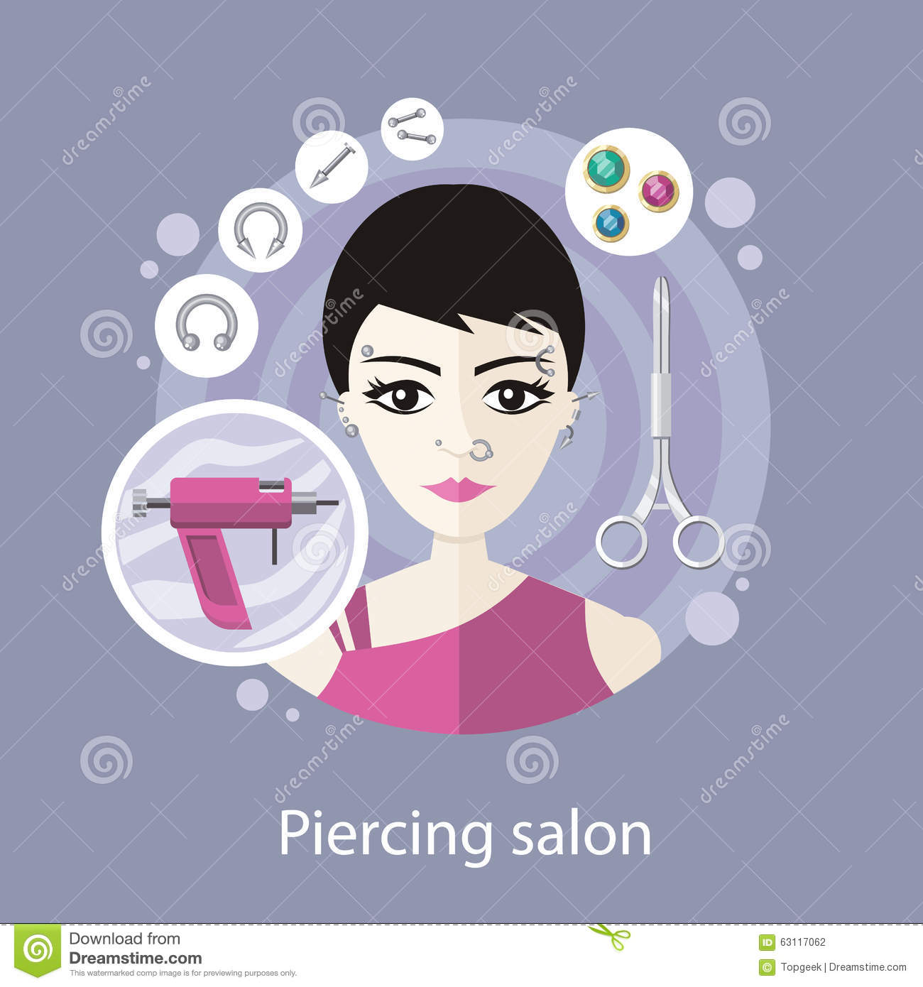 piercing salon flat style design stock vector image