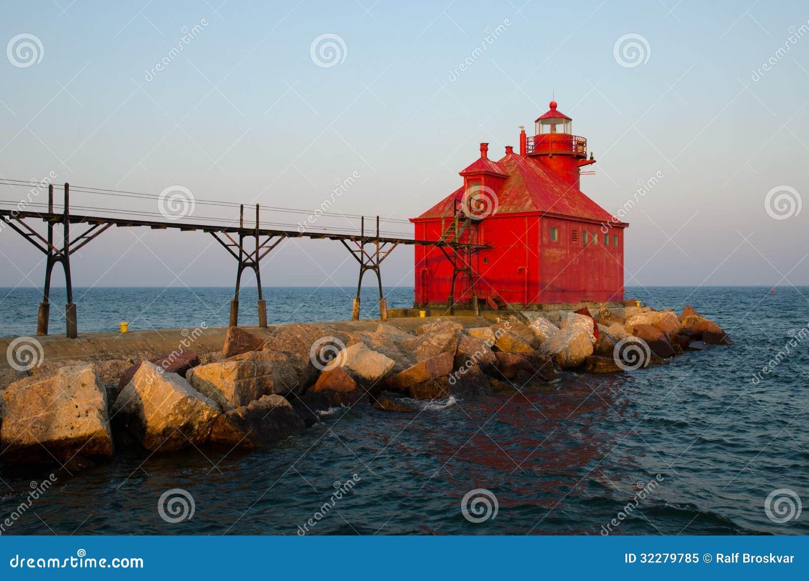 Pierhead för kanal för störfjärdskepp fyr, Wisconsin, USA