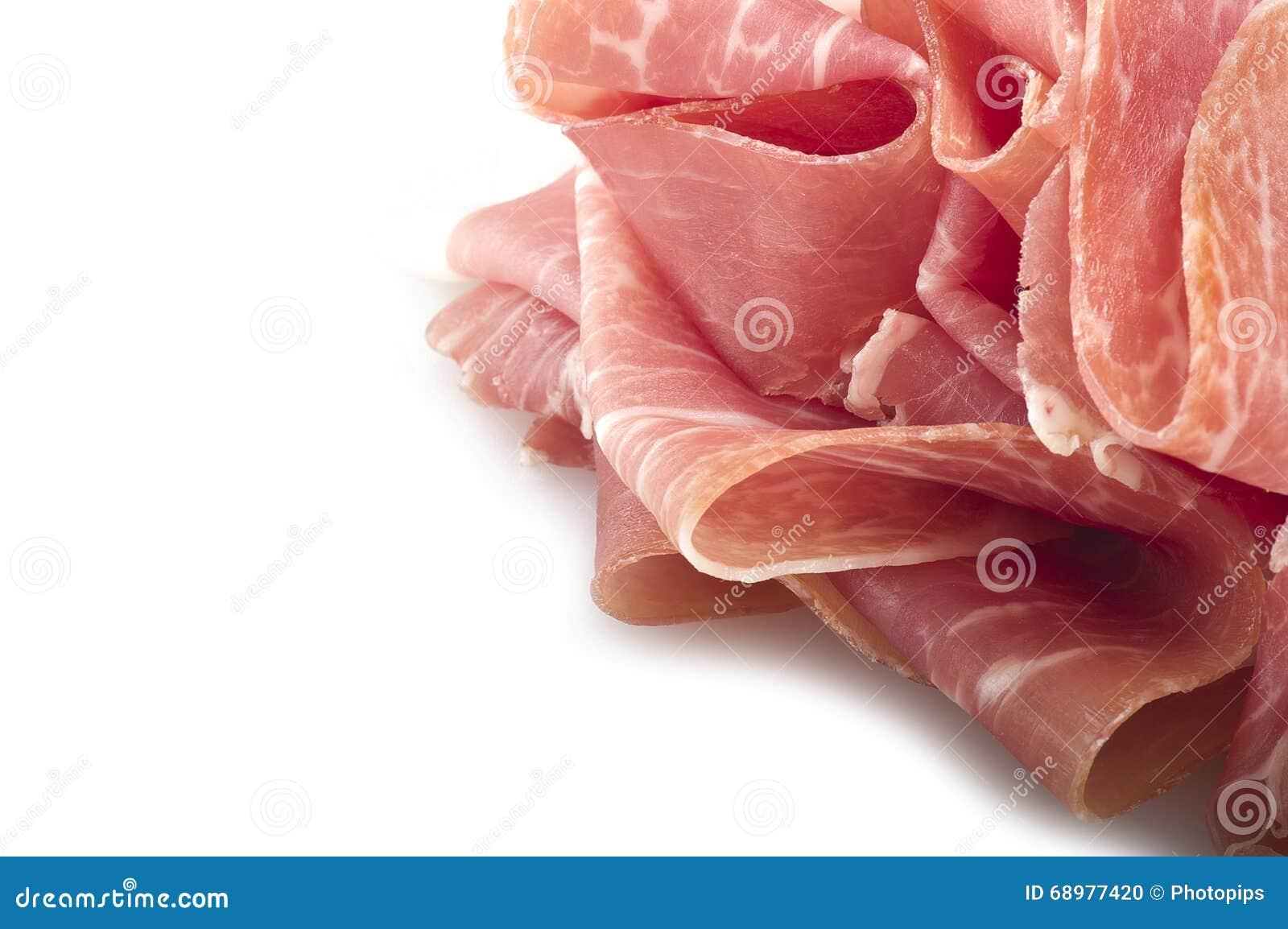 Pierna cruda del jamón cortada