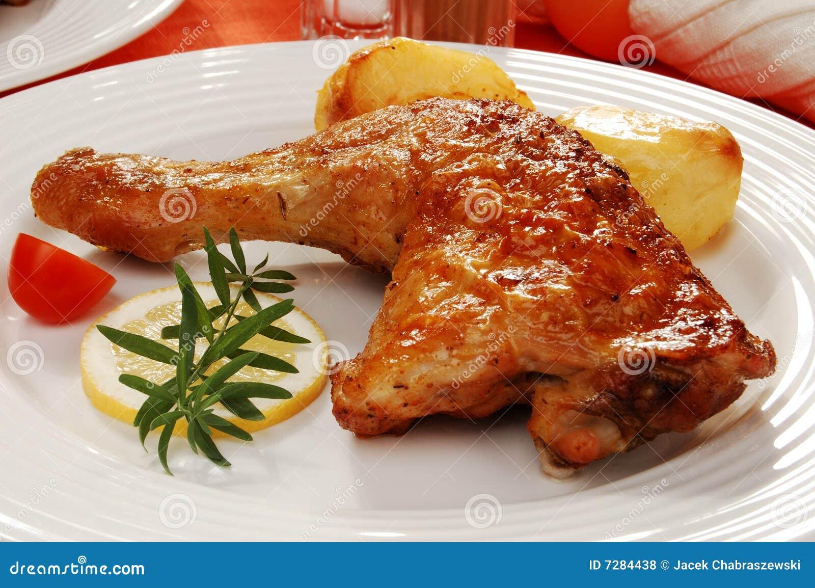 Pierna de pollo asada