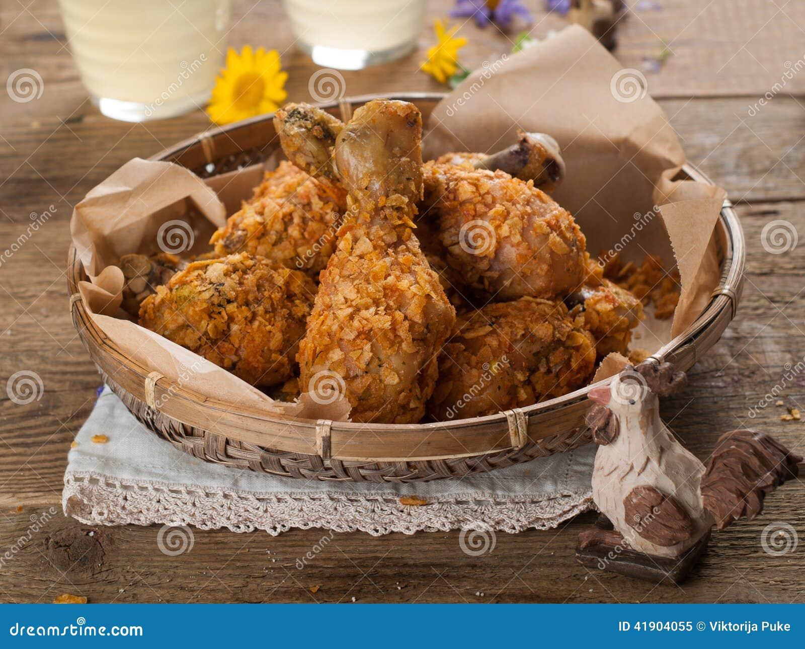 Pierna de pollo frito