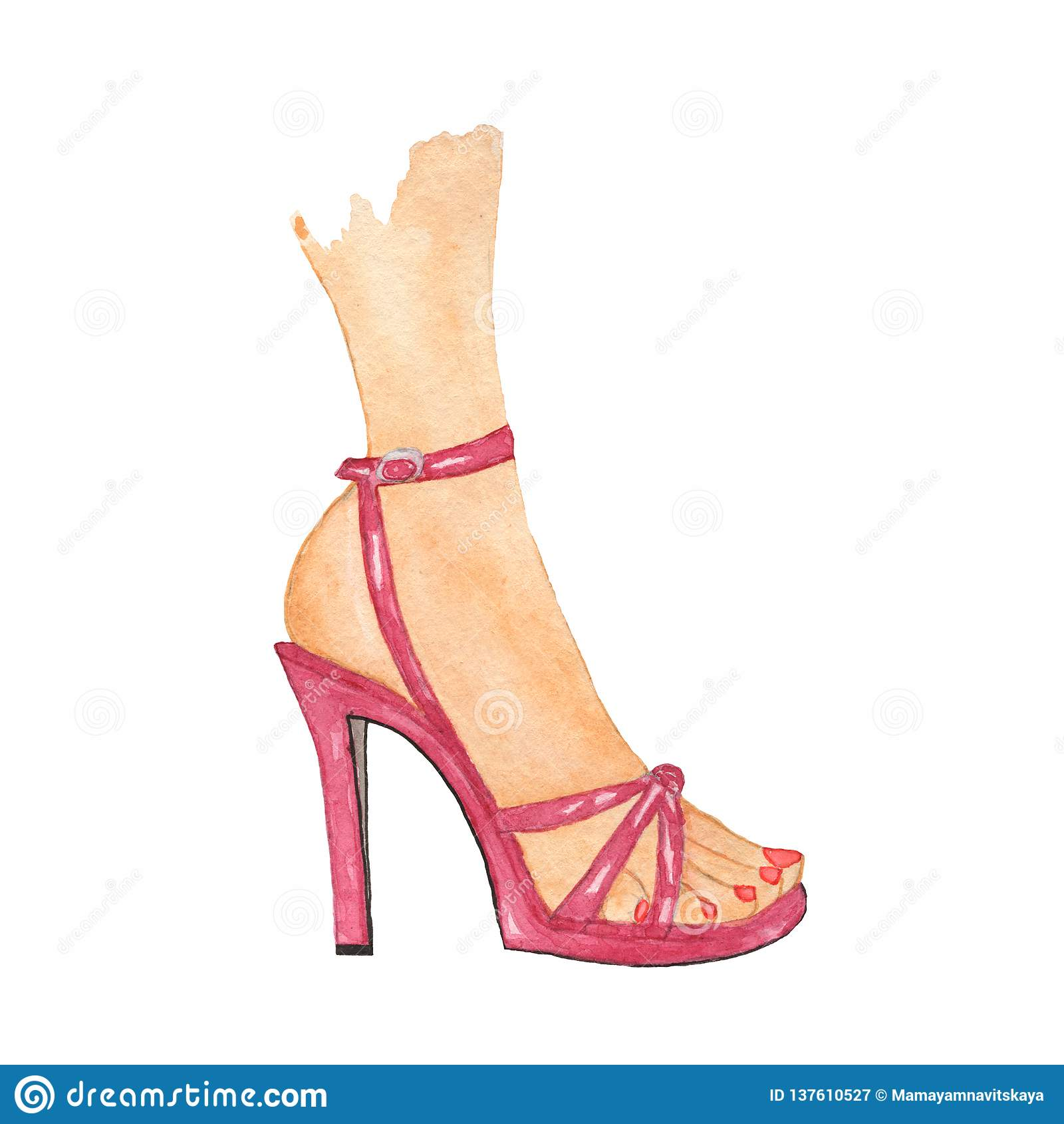 Pierna femenina elegante en zapato rosado Ilustración de la acuarela zapatos de tacón alto de la moda