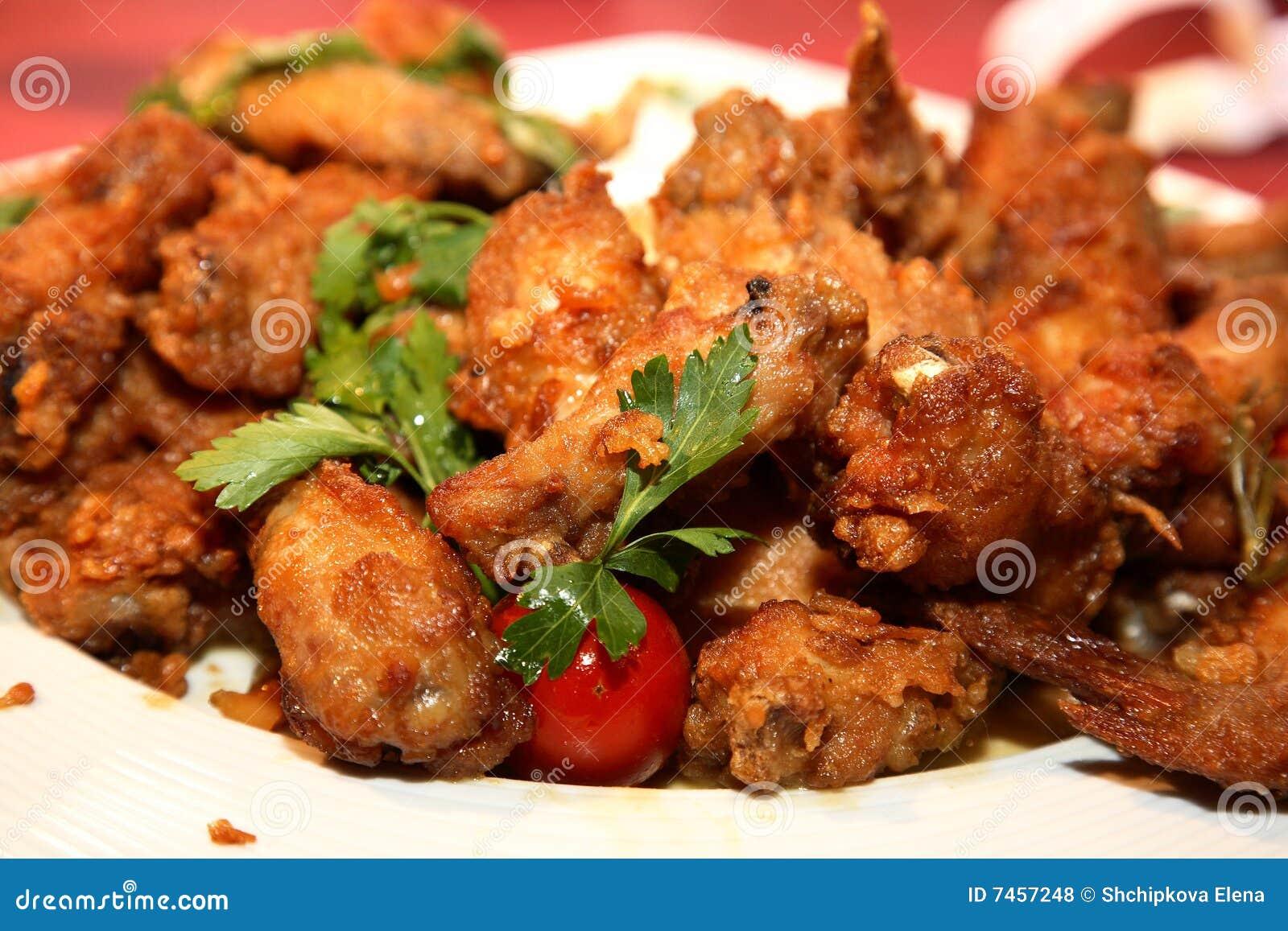 Piernas de pollo frito