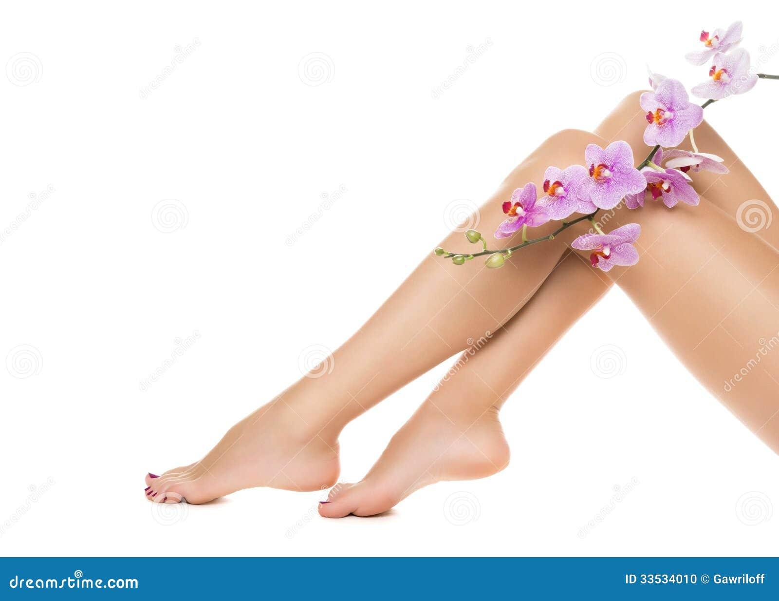 Piernas y orquídeas largas de la mujer