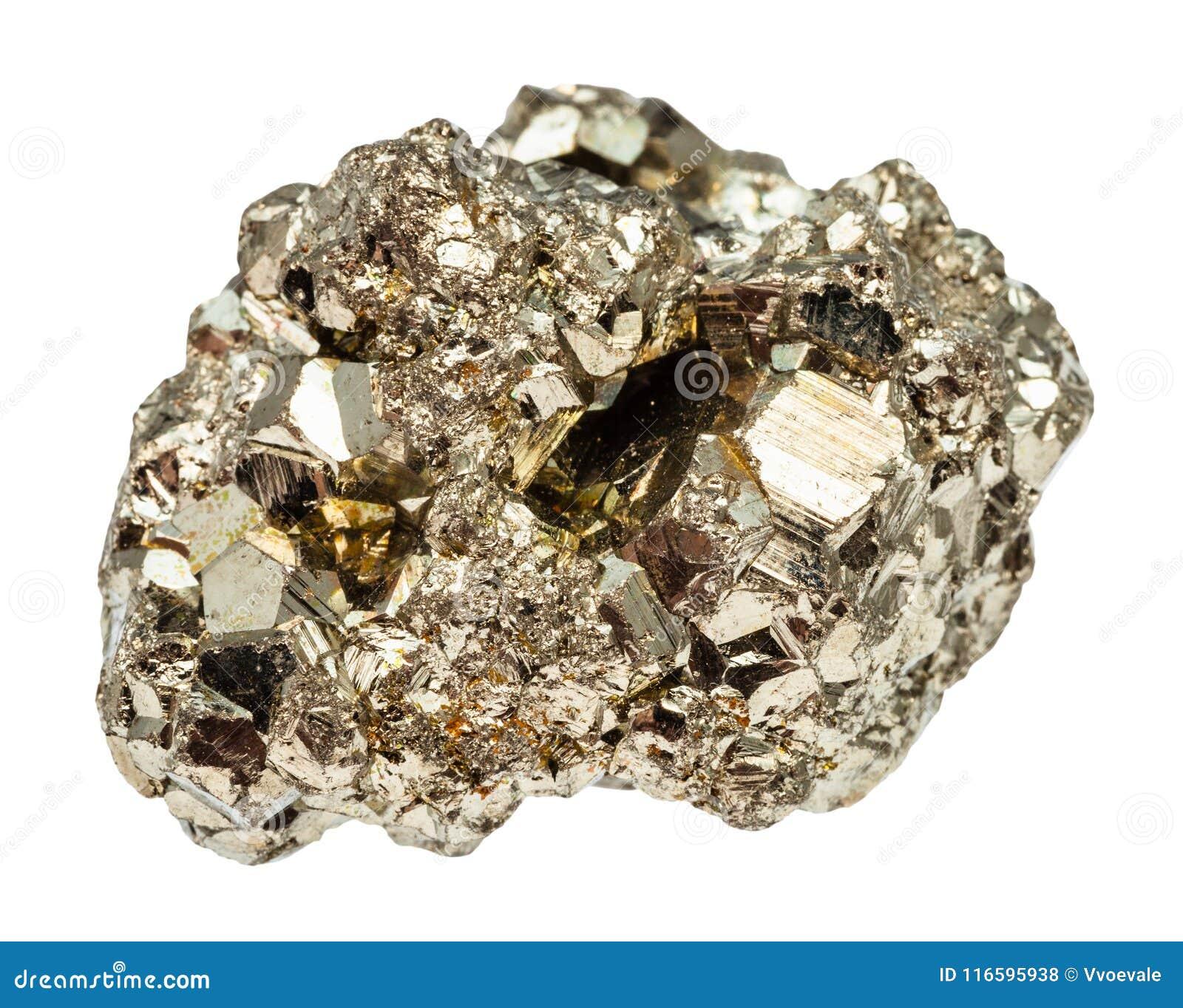 Pierre cristalline de pyrite de fer d isolement