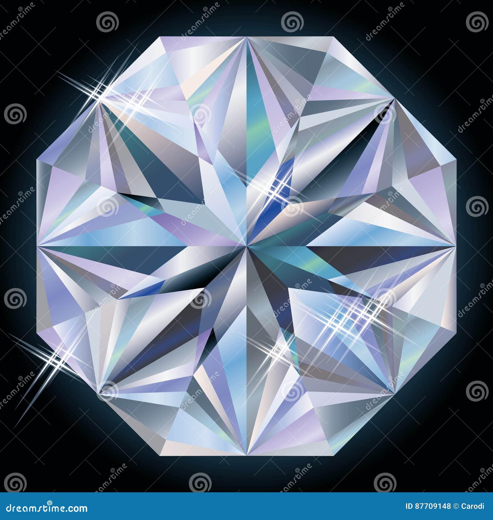 Pierre précieuse de diamant, vecteur