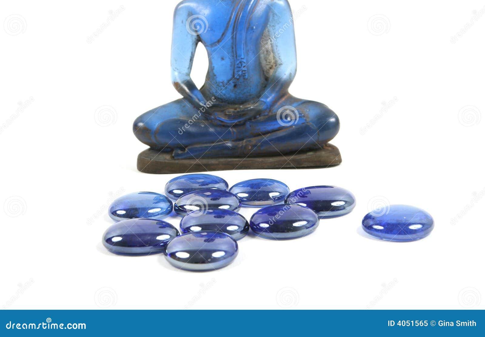Pierres et Bouddha curatifs bleus.