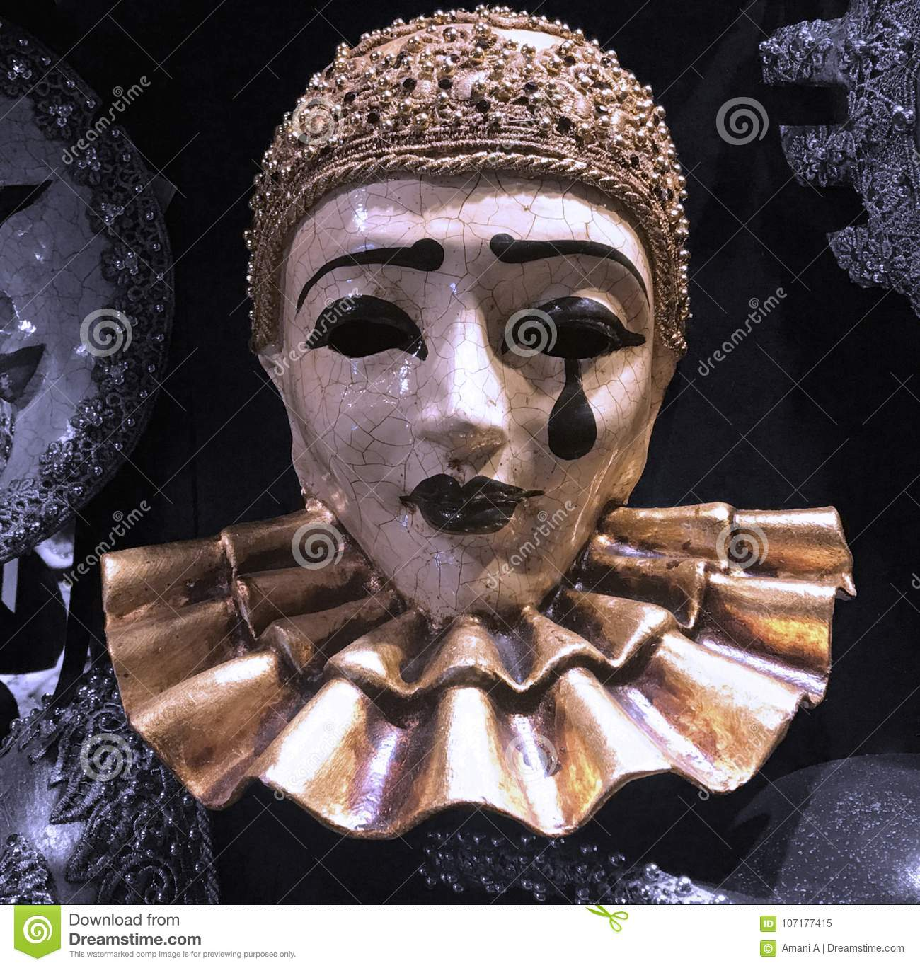 Download comp  sc 1 st  Dreamstime.com & Pierrot Masquerade Costume Mask For Sale In A Traditional Venetian ...