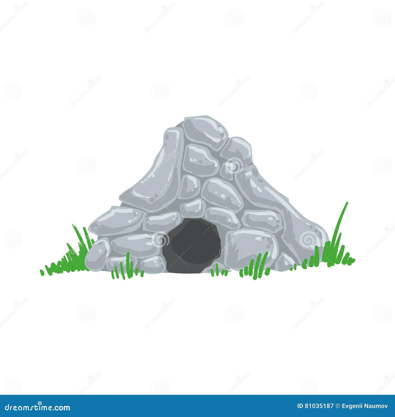 Pierwotny ery kamienia łupanego jamy troglodyta domu mężczyzna Robić Z Popielatych skał Żyje miejsce