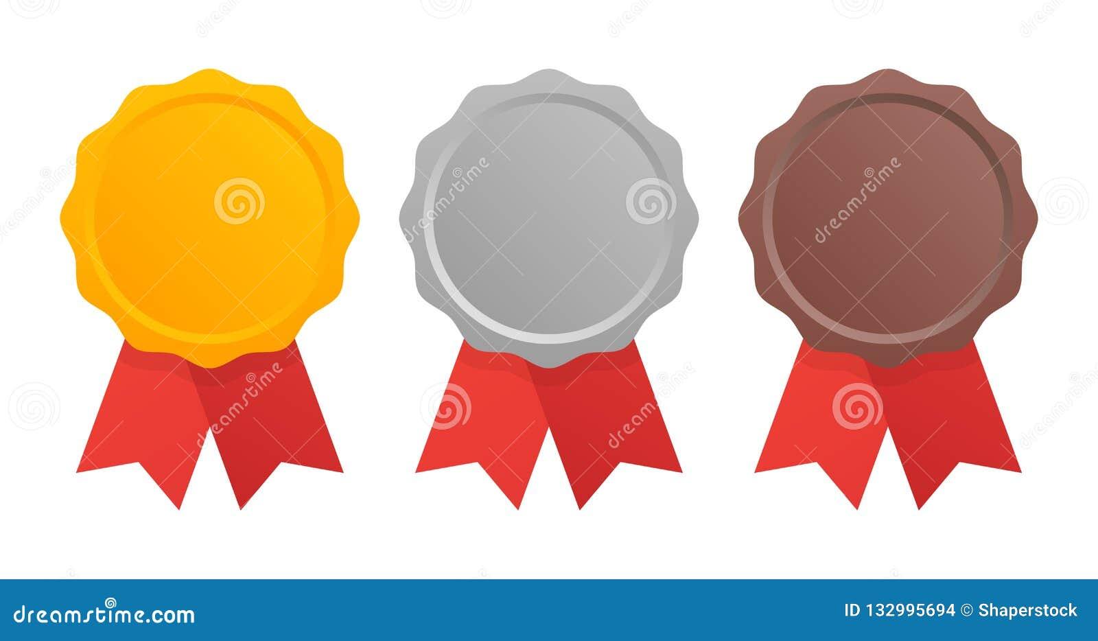 Pierwszy miejsca drugi trzeci Nagradza medale Ustawiających odizolowywającymi na bielu z faborkami również zwrócić corel ilustrac
