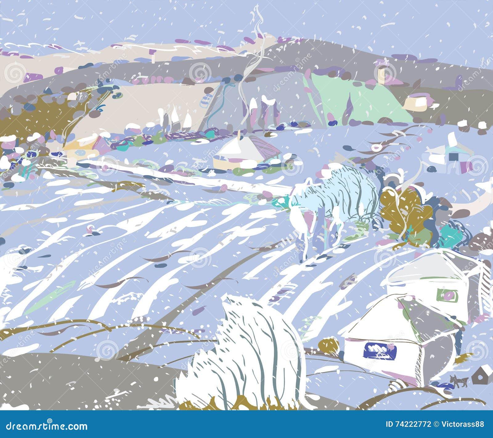 Pierwszy opad śniegu W jesieni