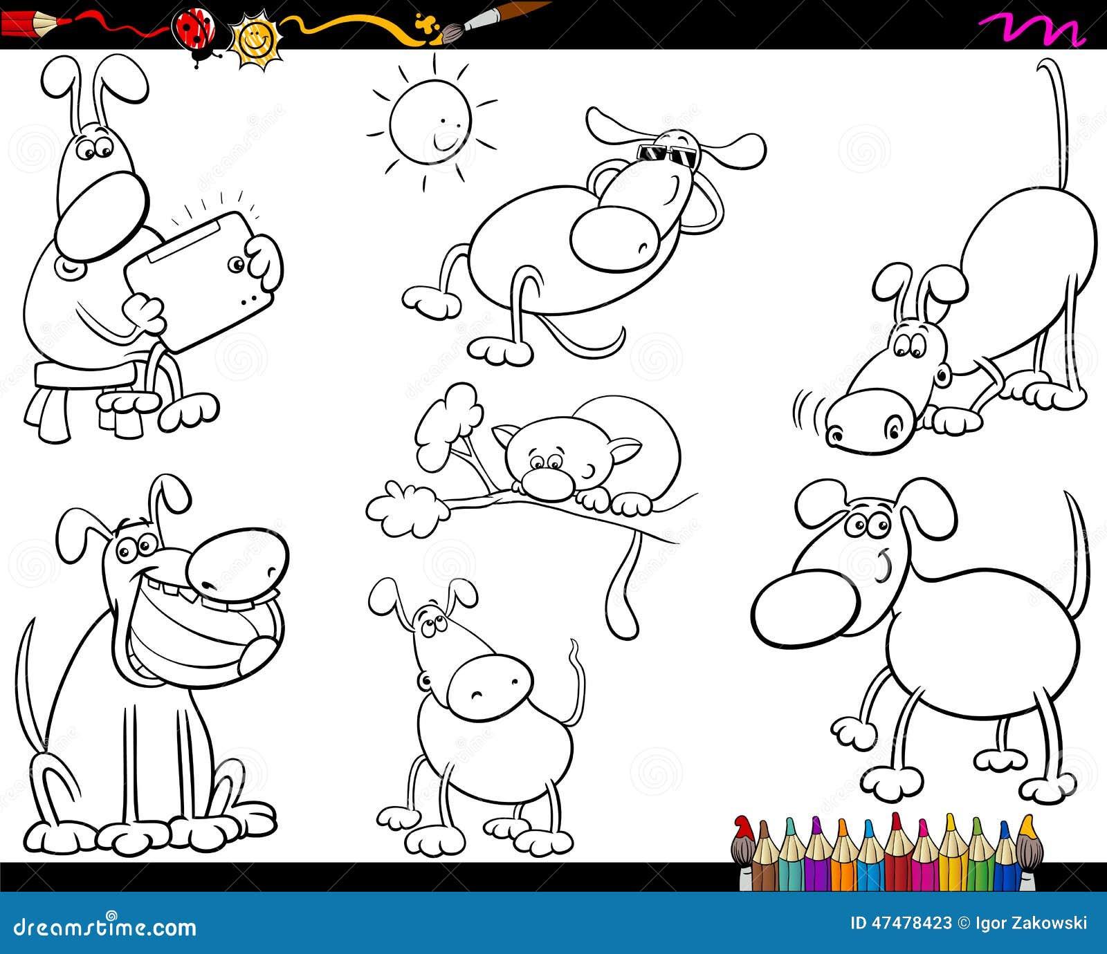 Pies ustawiająca kreskówki kolorystyki strona