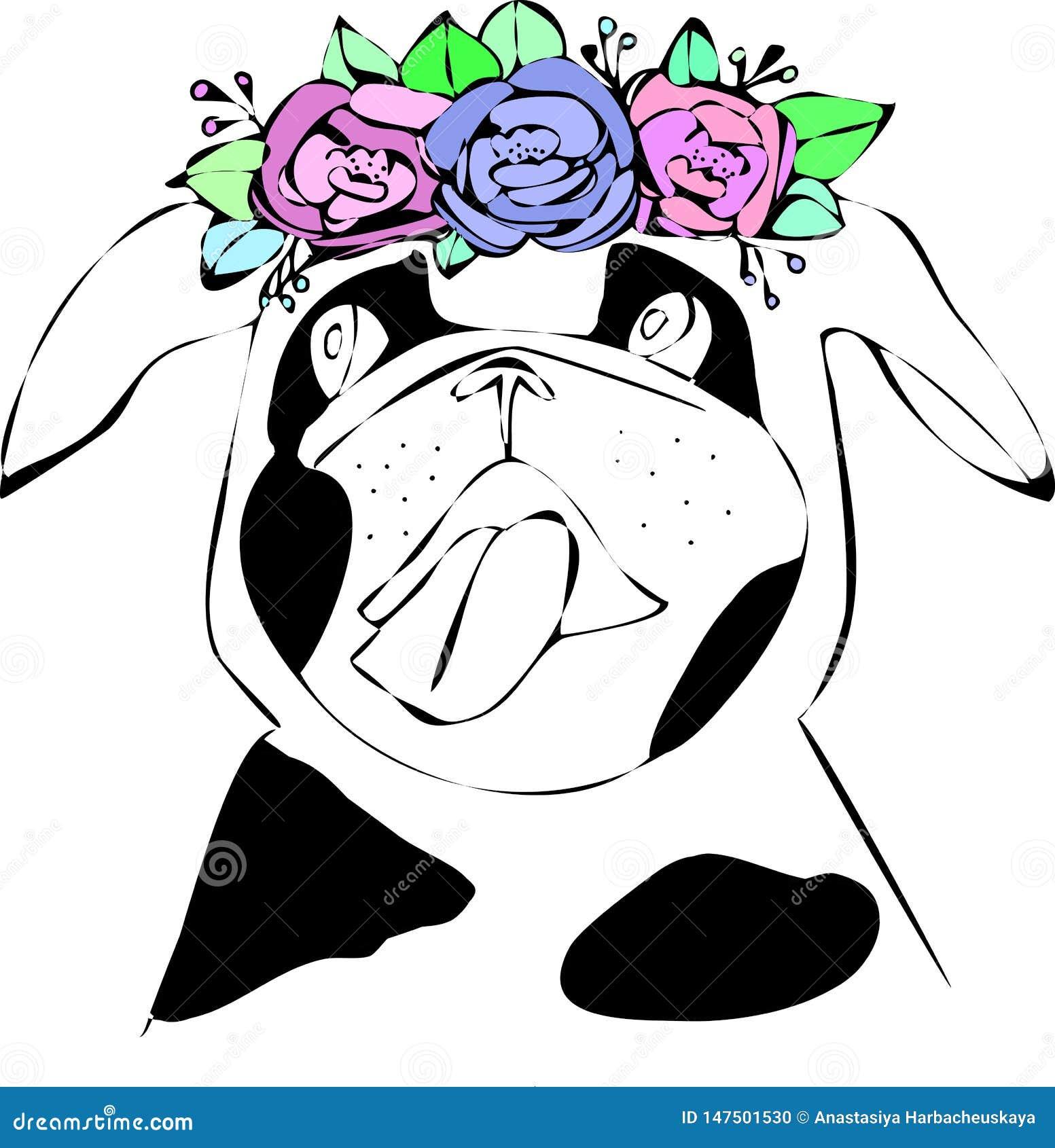 Pies z kwiatem Ręka rysujący ilustracyjny mops