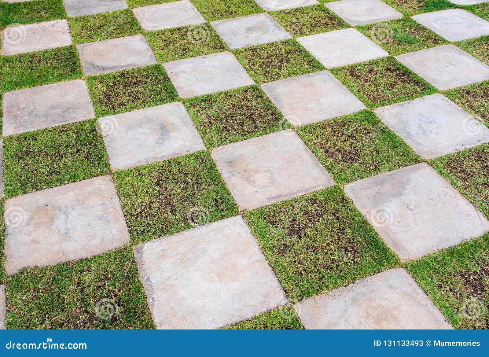 Pietra della scacchiera con il pavimento dell erba immagine stock