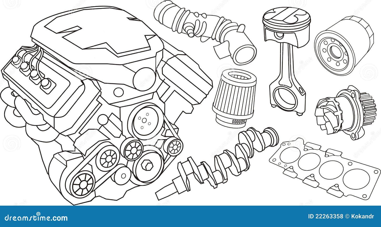 Dibujo De Autos Tuning Para Colorear En Tu Tiempo Libre Dibujos 5: Piezas Del Motor De Coche Fotos De Archivo Libres De