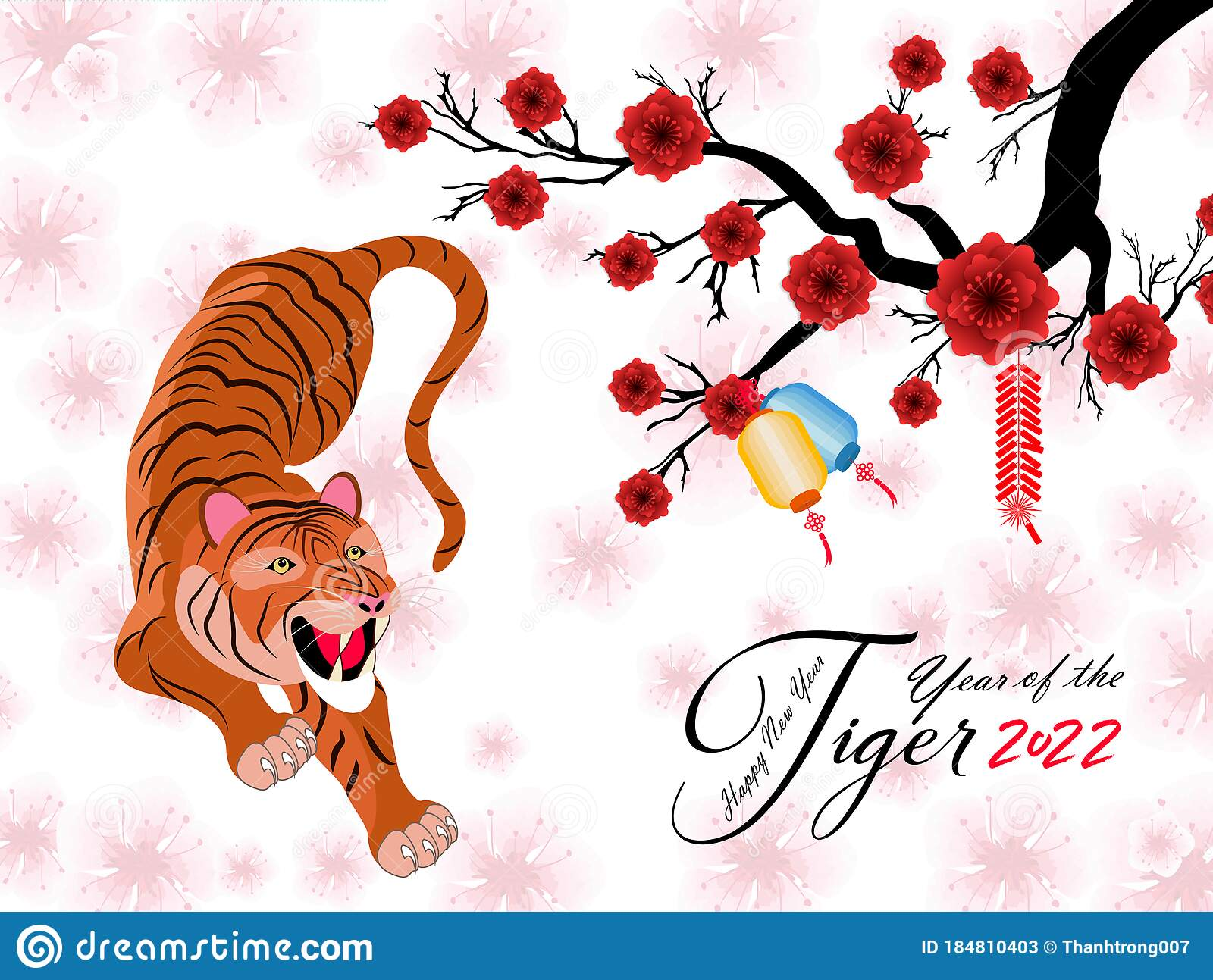 Chinese New Year 2022 Year Of The Tiger Lunar New Year Banner Design Template Zodiac Sign Abstract Flower Texture Horoscop Stock Vector Illustration Of Flower Animal 184810403