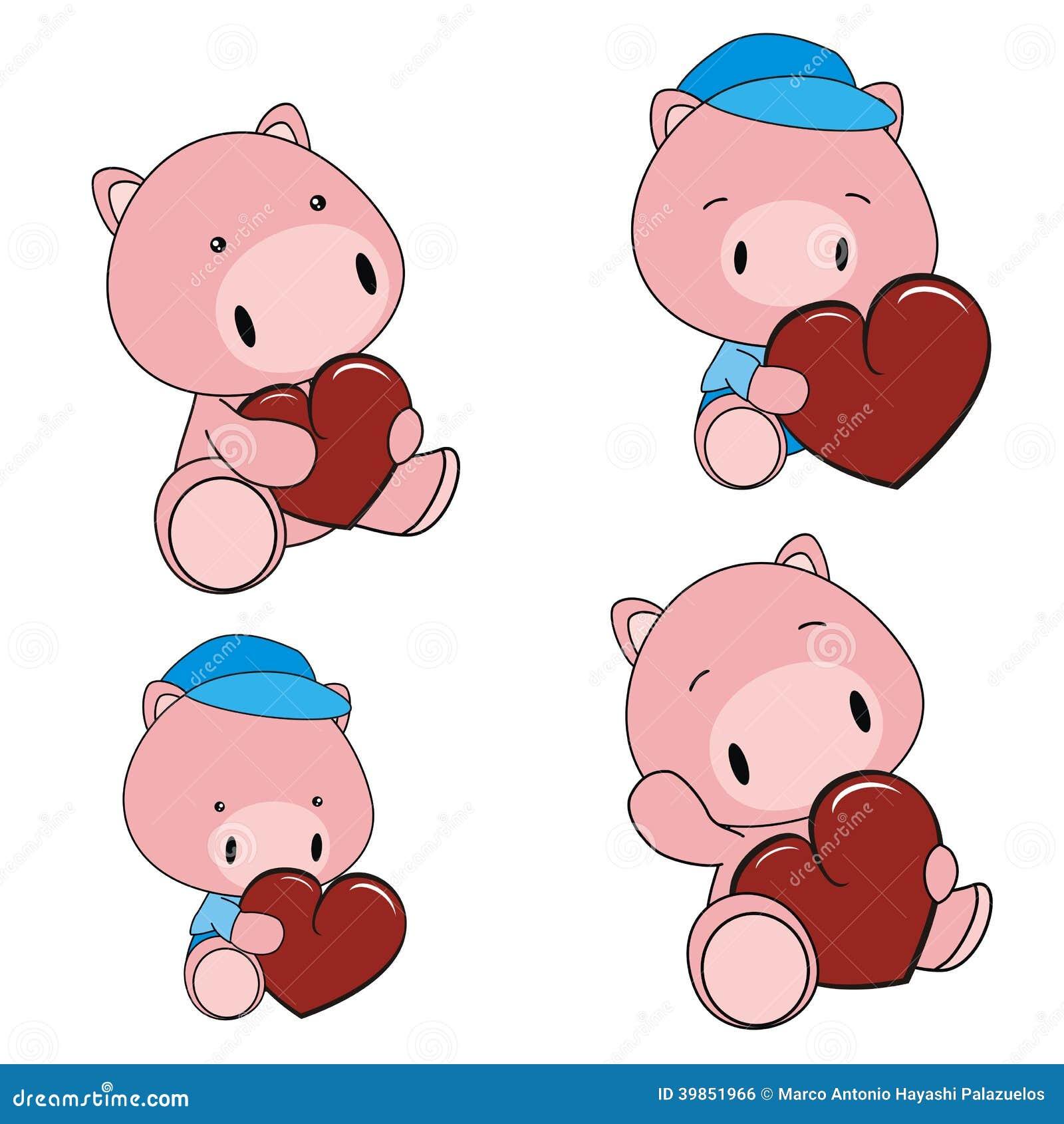 Pig Baby Cartoon Heart Set