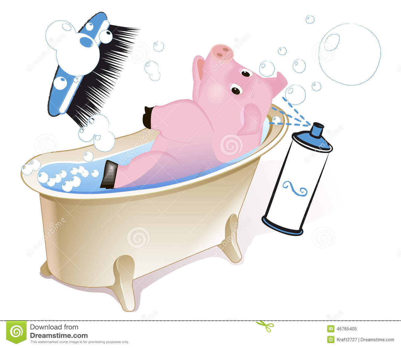 Pig in the bathroom stock illustration image