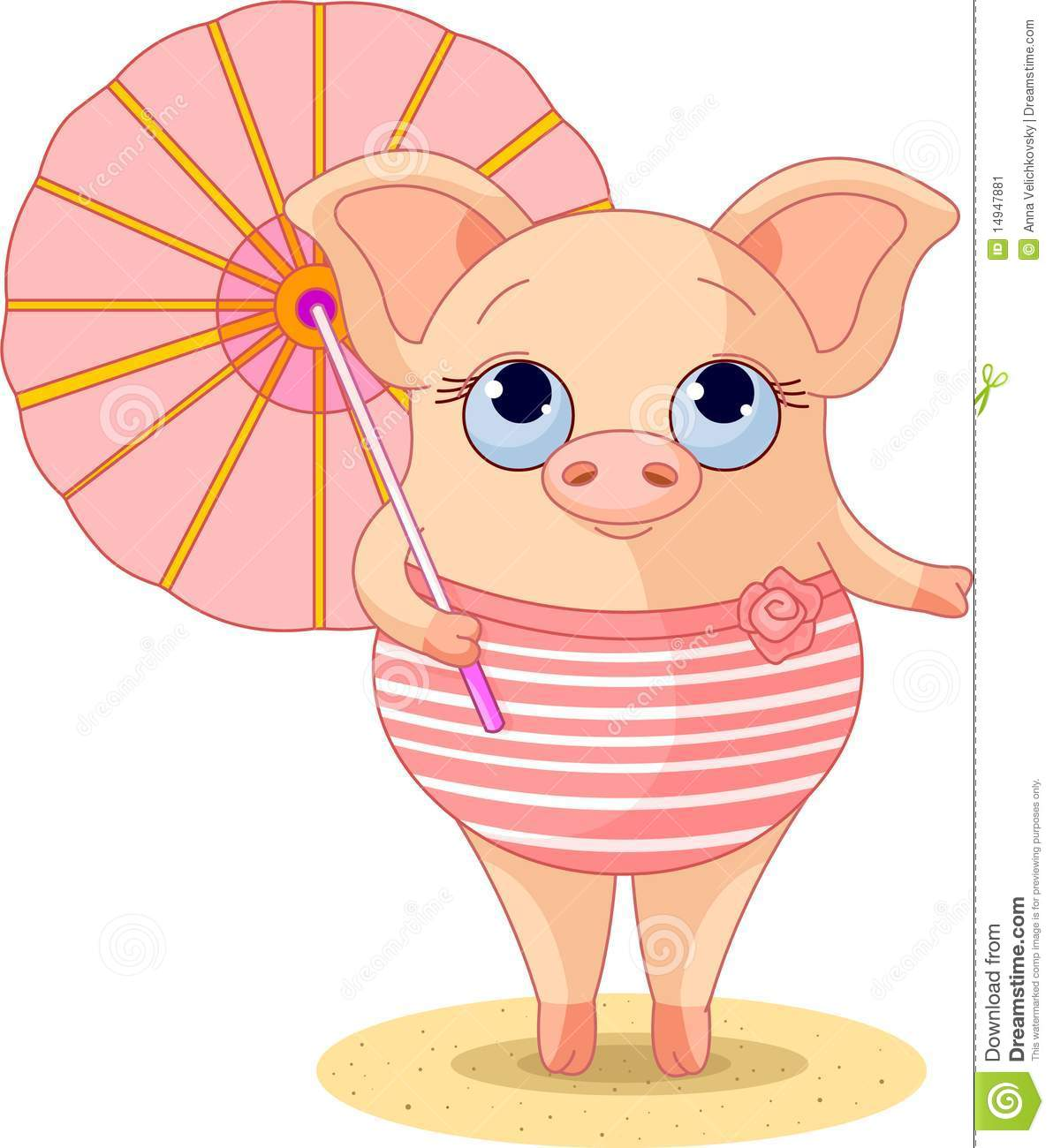pig on the beach stock image