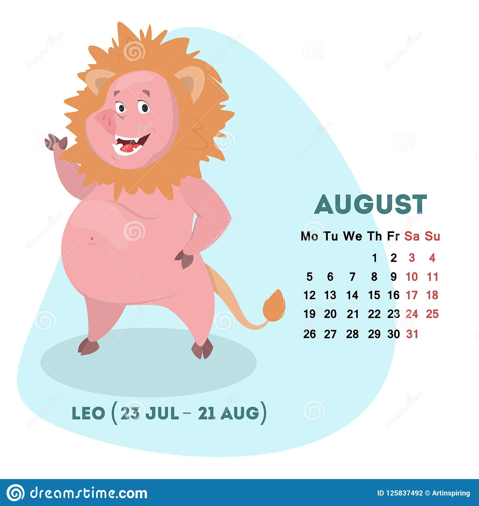 Pig Calendar For August 2019 With Horoscope Sign Stock Vector
