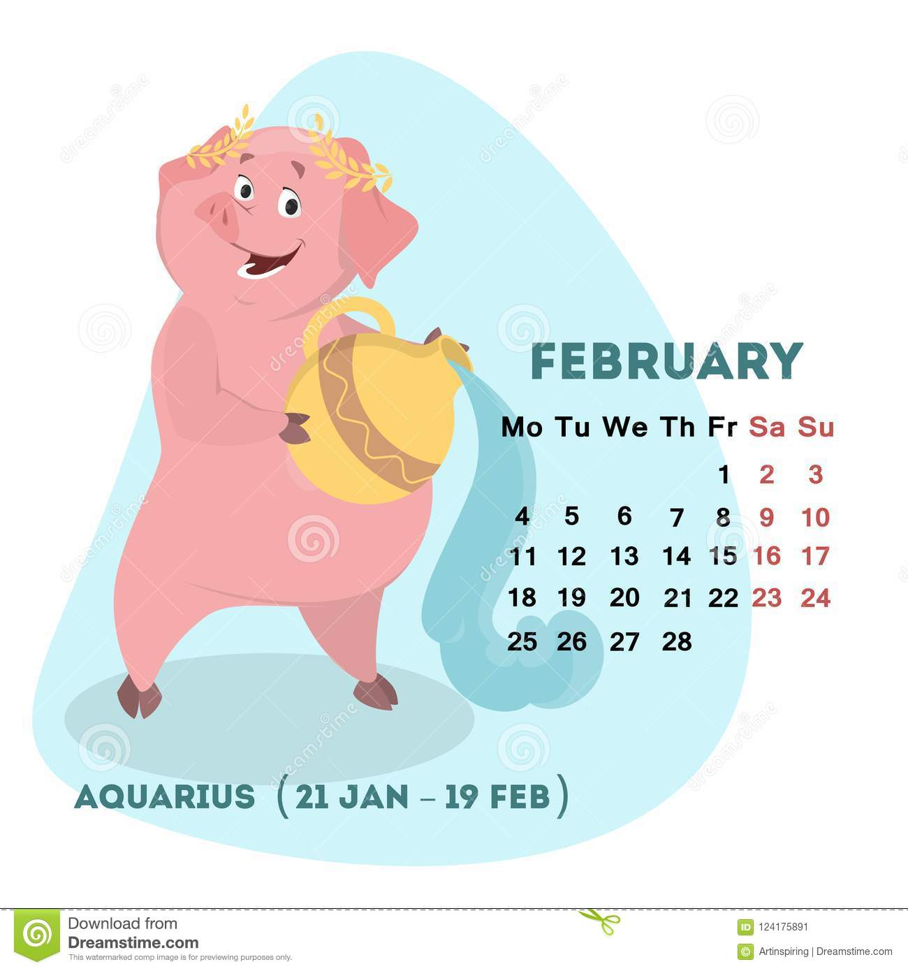 Chinese Calendar February 2019 Pig Calendar For February 2019 With Horoscope Sign Stock Vector